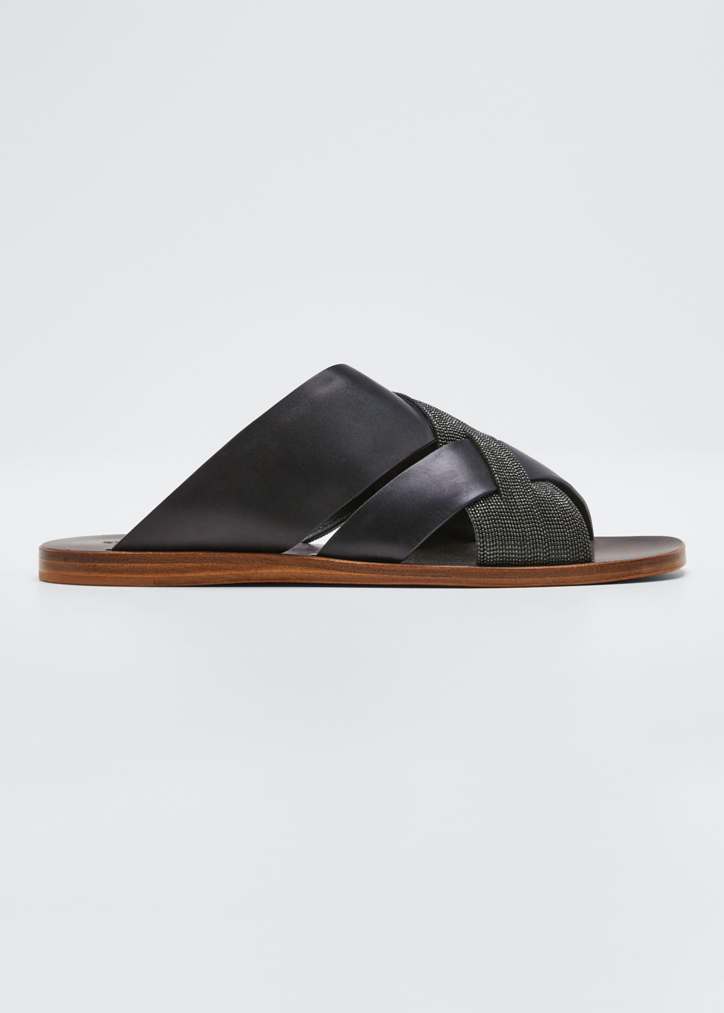 Image 1 of 3: Flat Monili & Leather Crossover Sandals