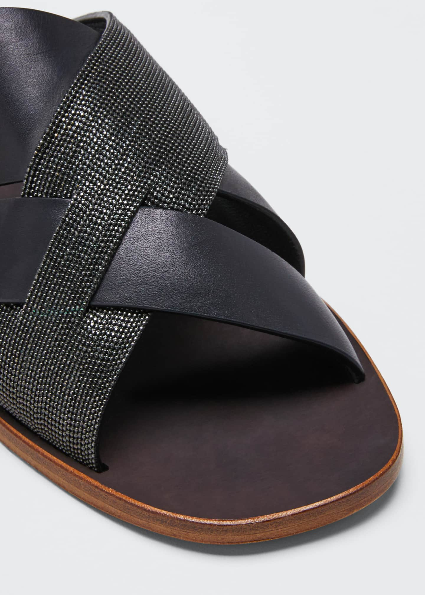 Image 3 of 3: Flat Monili & Leather Crossover Sandals