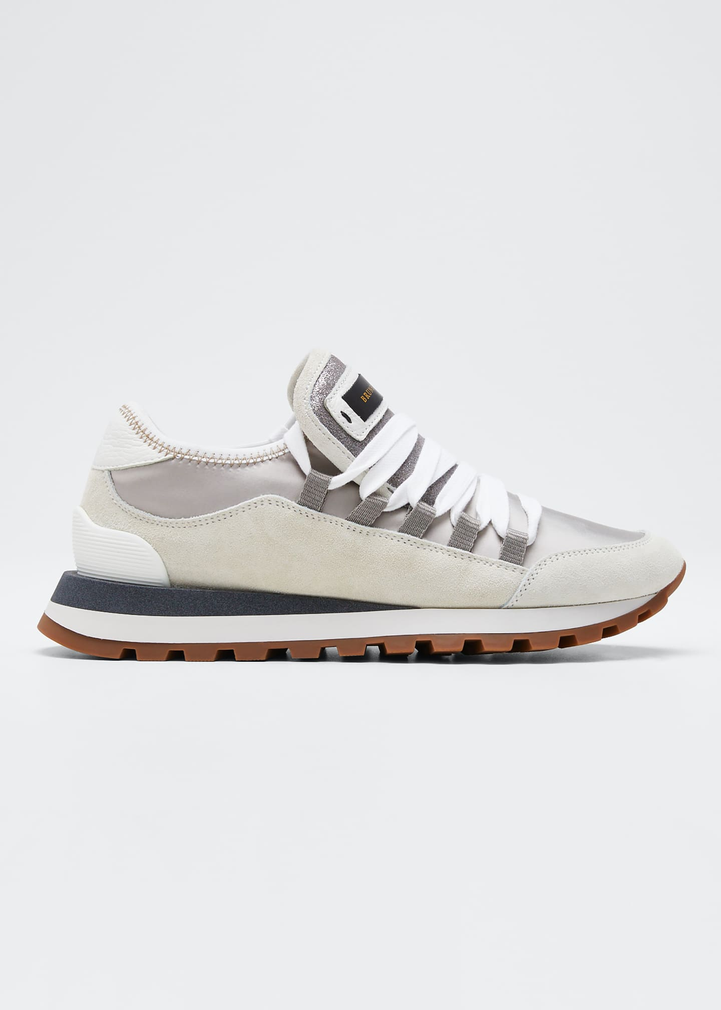 Brunello Cucinelli Suede and Satin Runner Sneakers