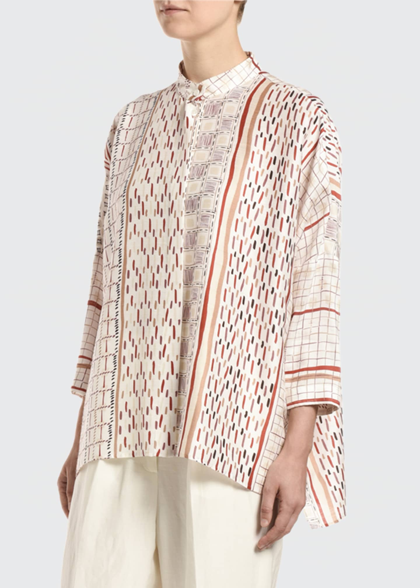 Image 3 of 3: Foulard-Print Banded-Collar Cape Top