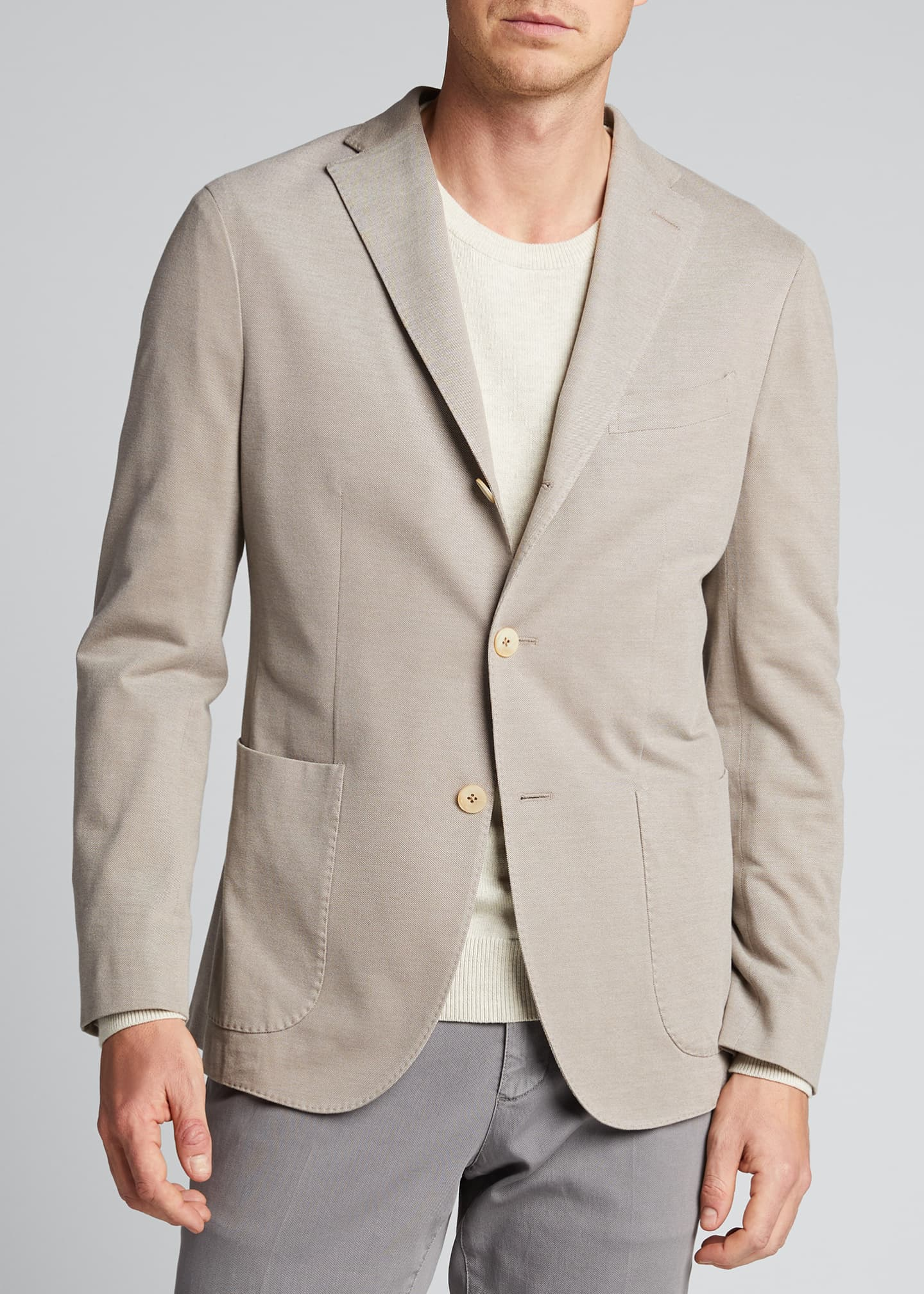 Image 3 of 5: Men's Solid Pique Knit Blazer