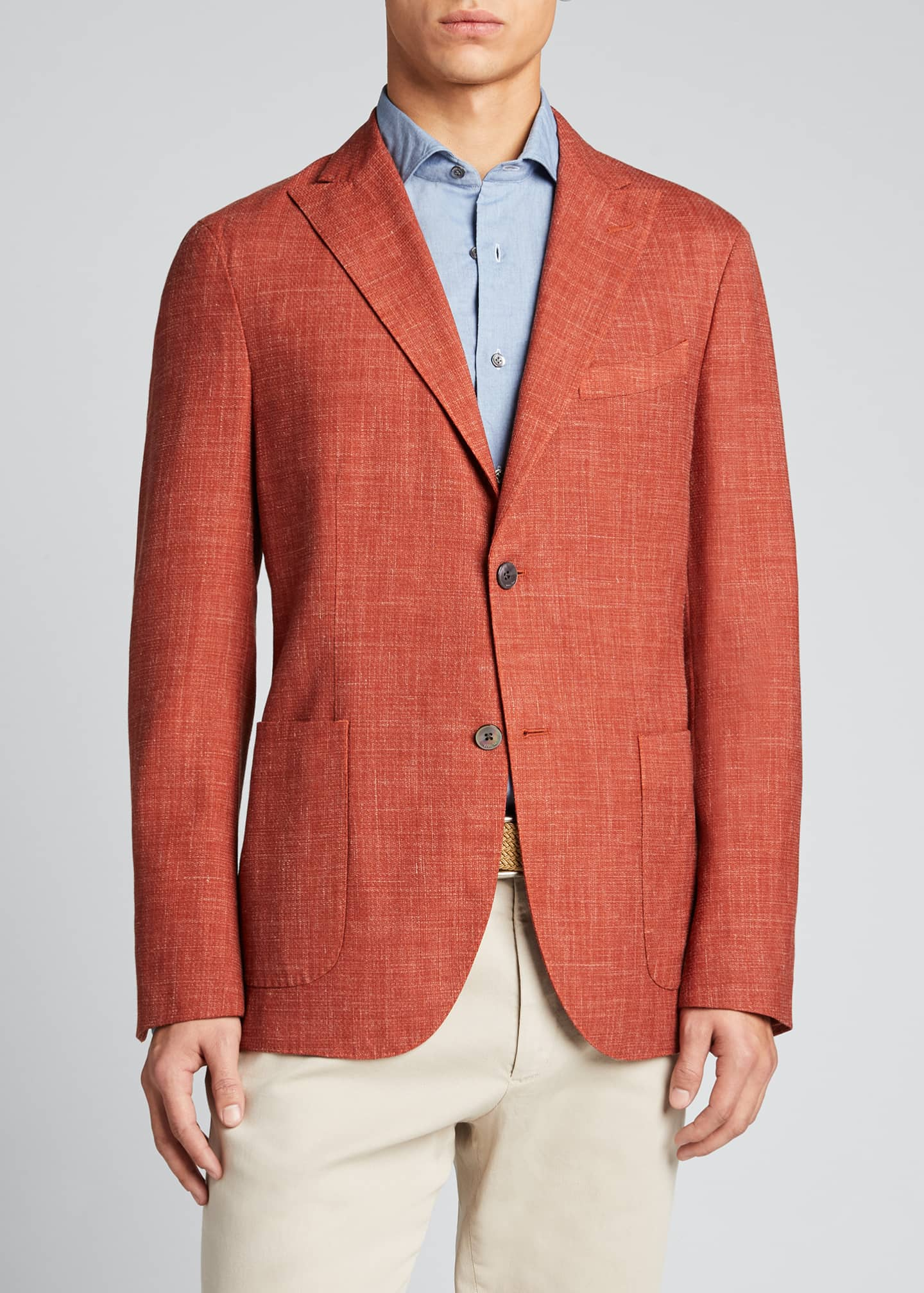 Image 3 of 5: Men's Melange Wool-Blend Blazer