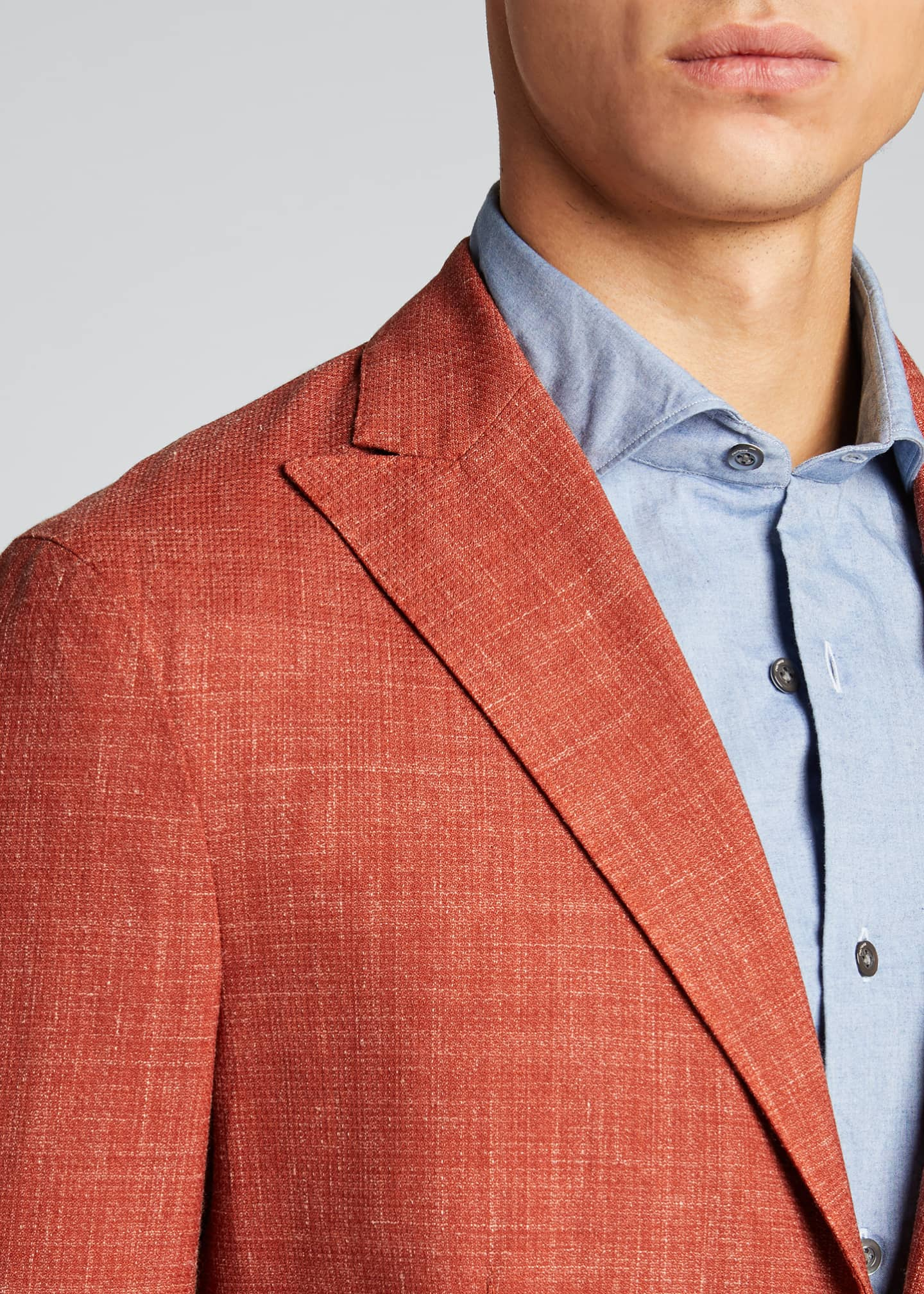 Image 4 of 5: Men's Melange Wool-Blend Blazer