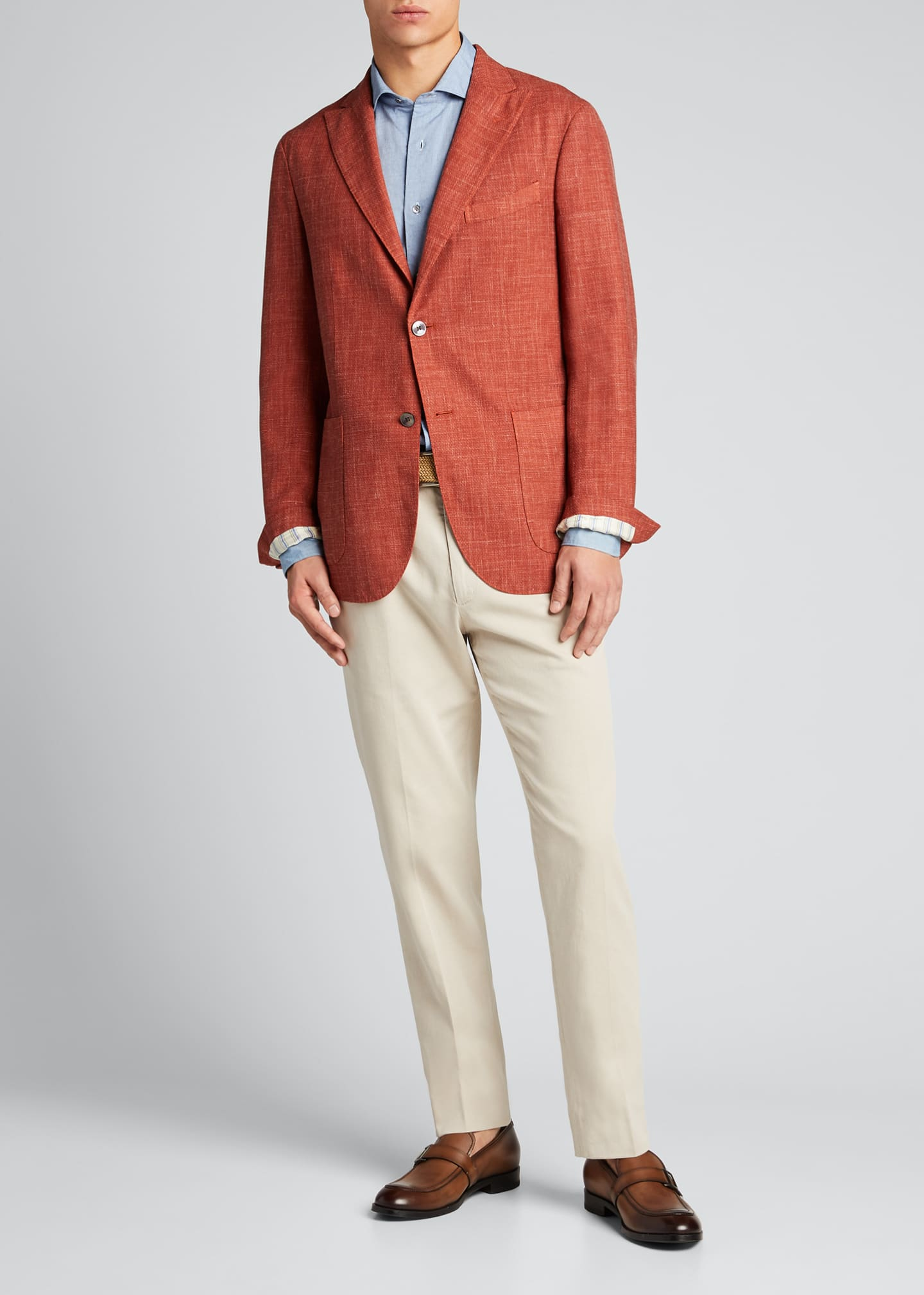 Image 1 of 5: Men's Melange Wool-Blend Blazer