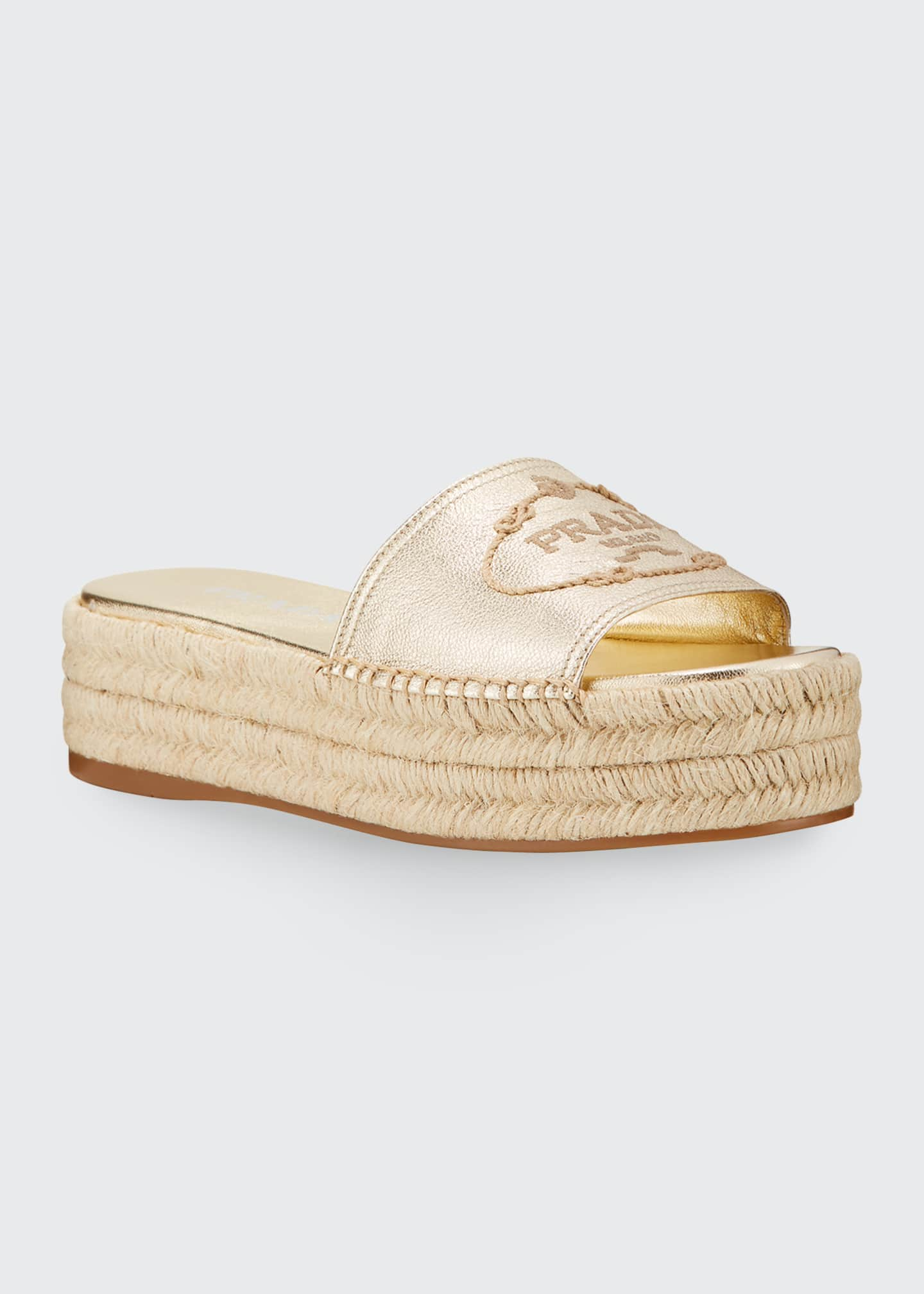 Image 2 of 3: Metallic Leather Platform Espadrilles
