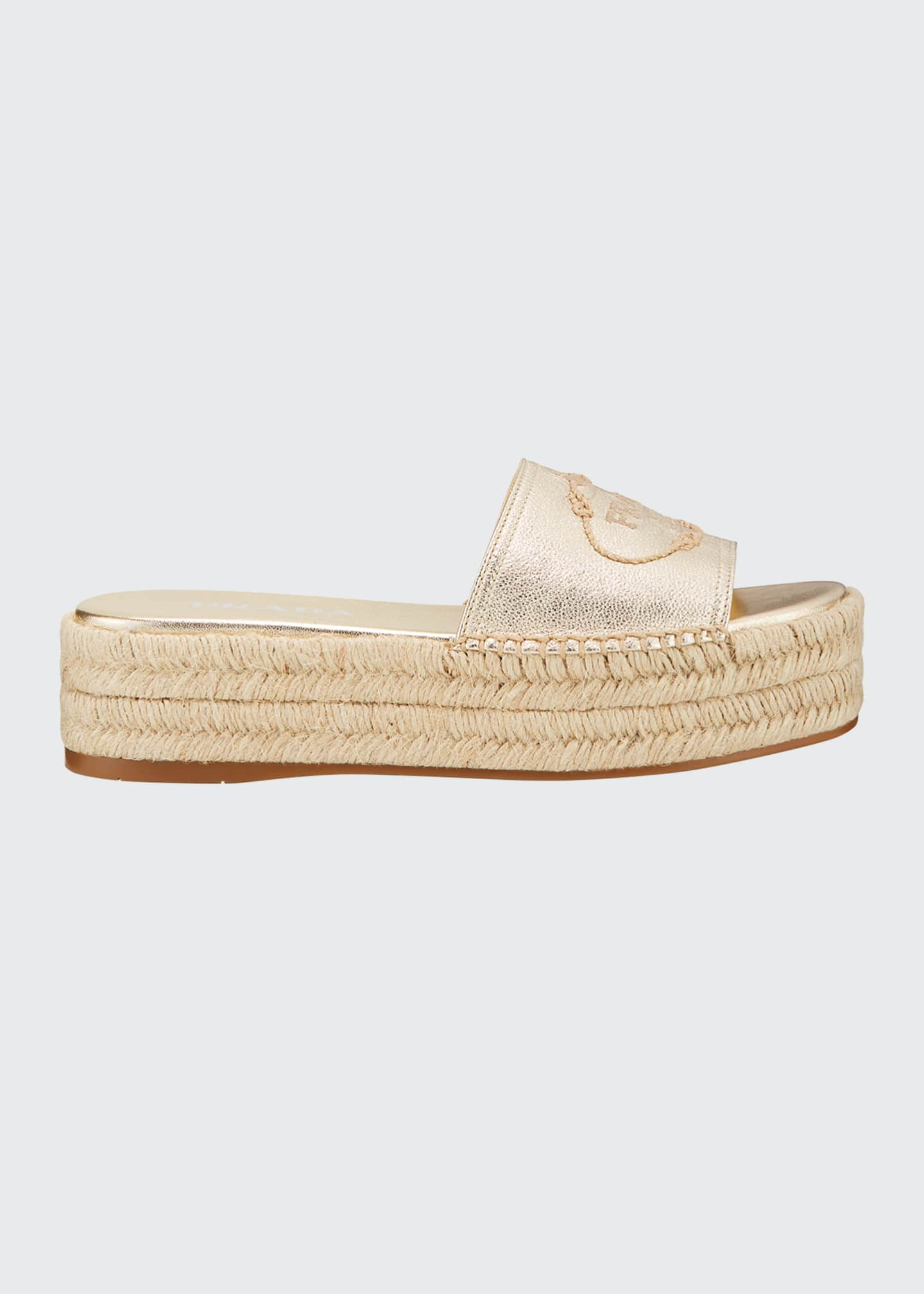 Image 1 of 3: Metallic Leather Platform Espadrilles