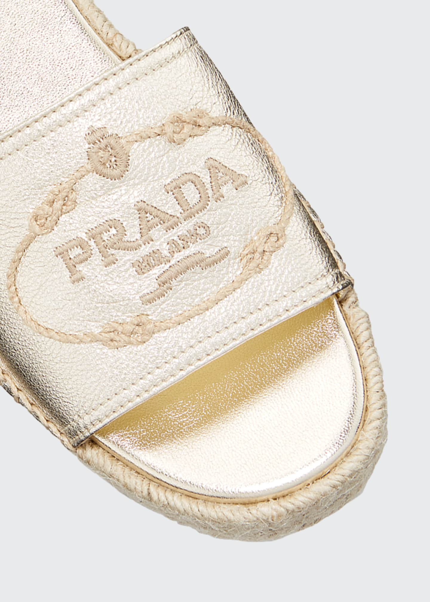 Image 3 of 3: Metallic Leather Platform Espadrilles