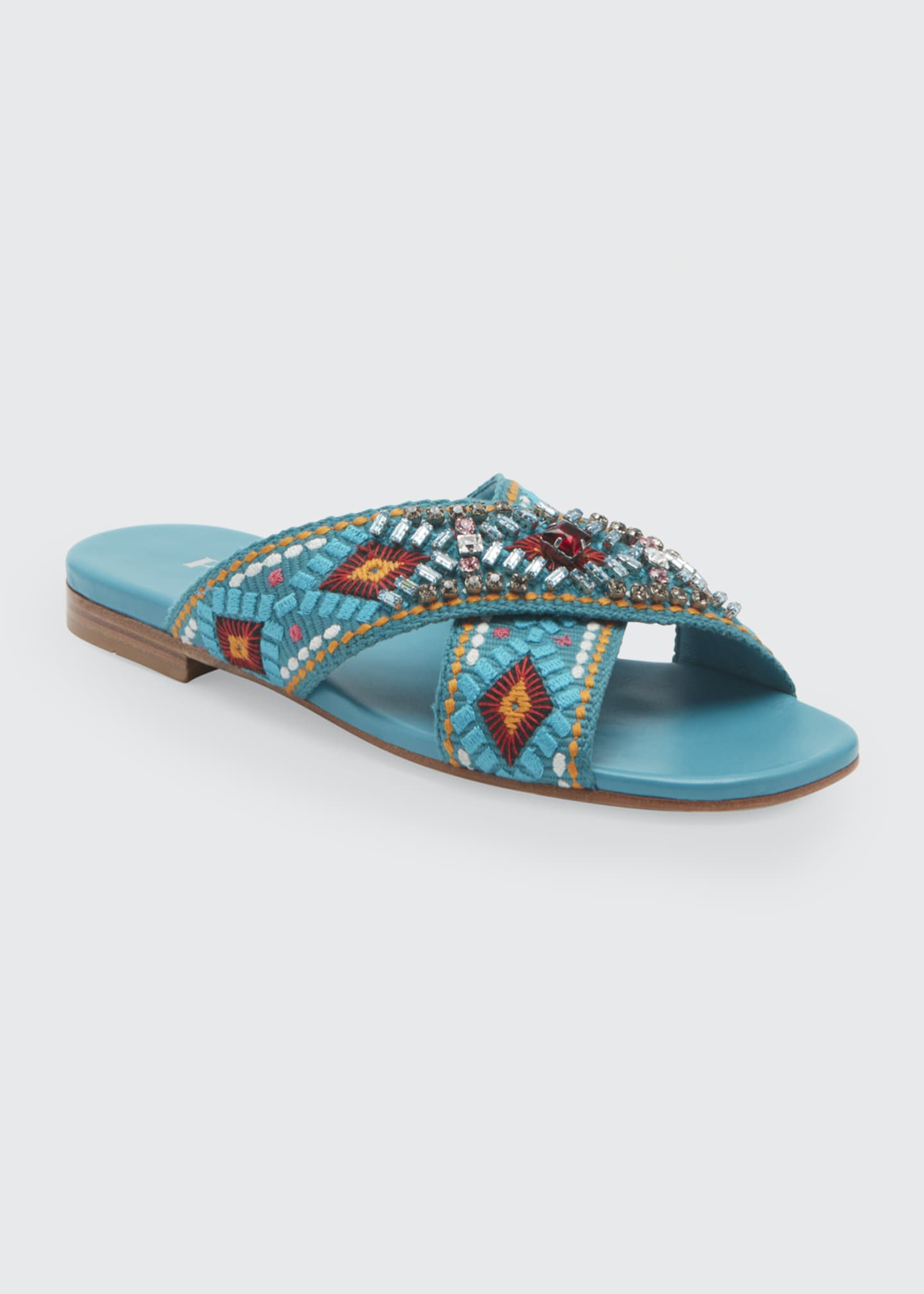 Image 2 of 3: Jeweled Jacquard Flat Sandals