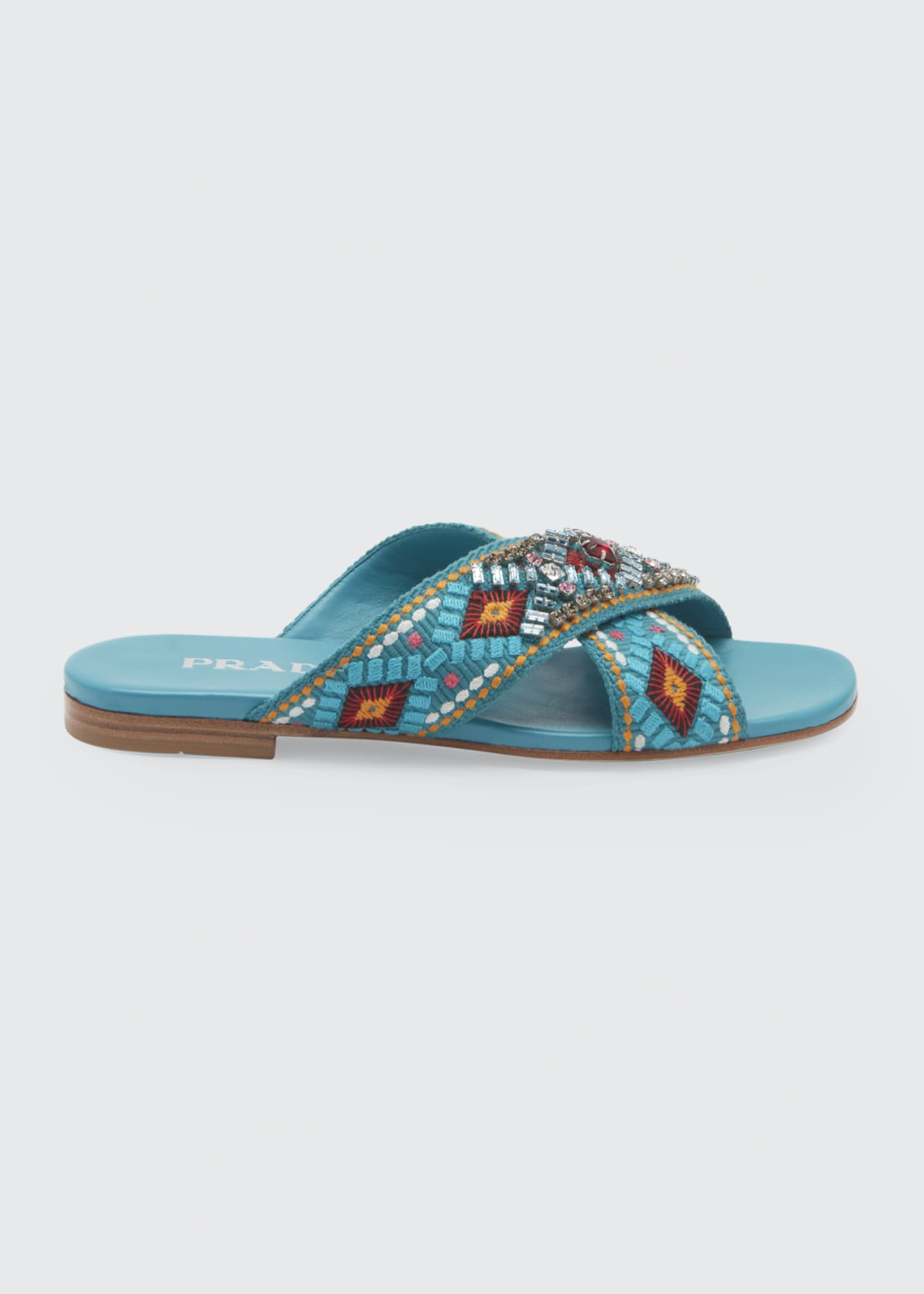 Image 1 of 3: Jeweled Jacquard Flat Sandals