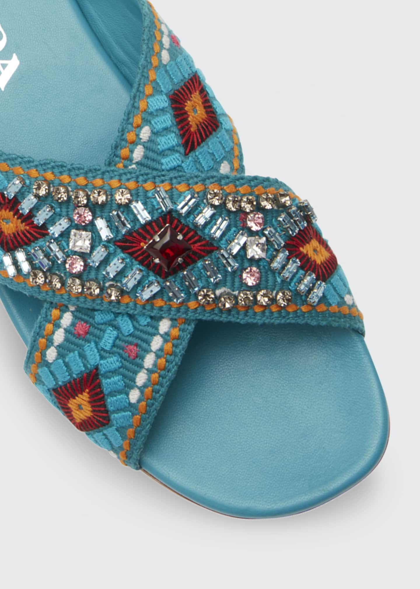 Image 3 of 3: Jeweled Jacquard Flat Sandals