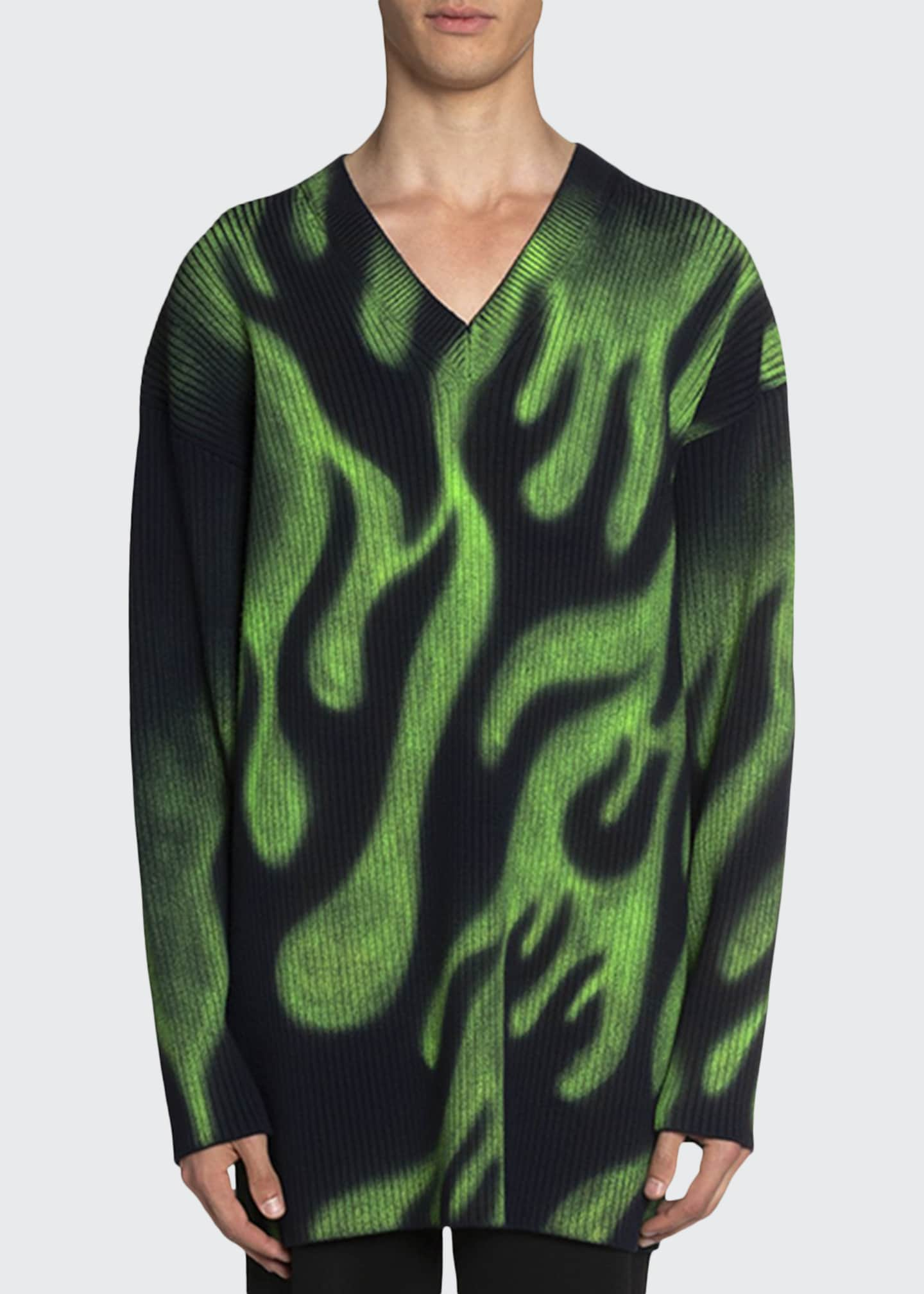 Balenciaga Men's Oversized V-Neck Neon-Flame Sweater