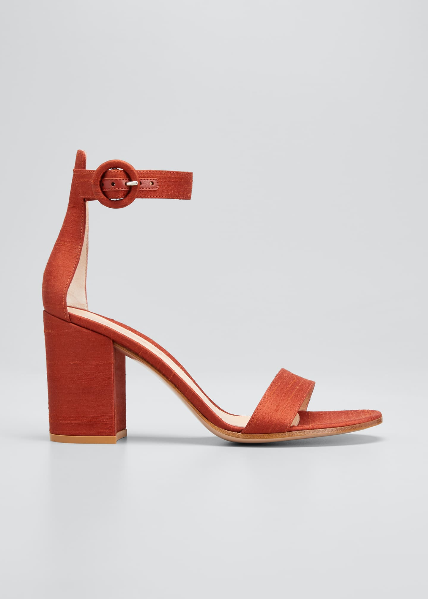Image 1 of 5: Shantung Ankle-Strap Sandals