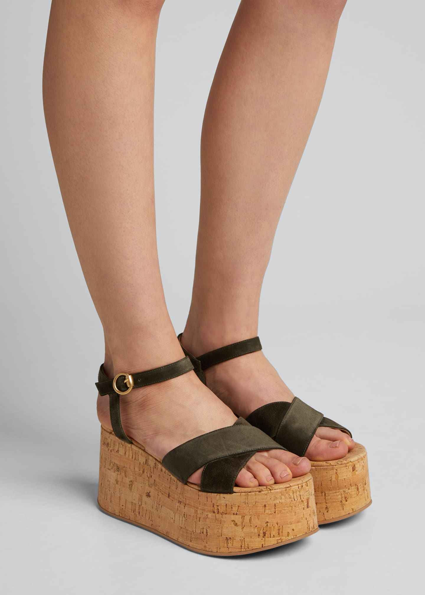 Image 2 of 5: 20mm Cork Flatform with Suede Sandals