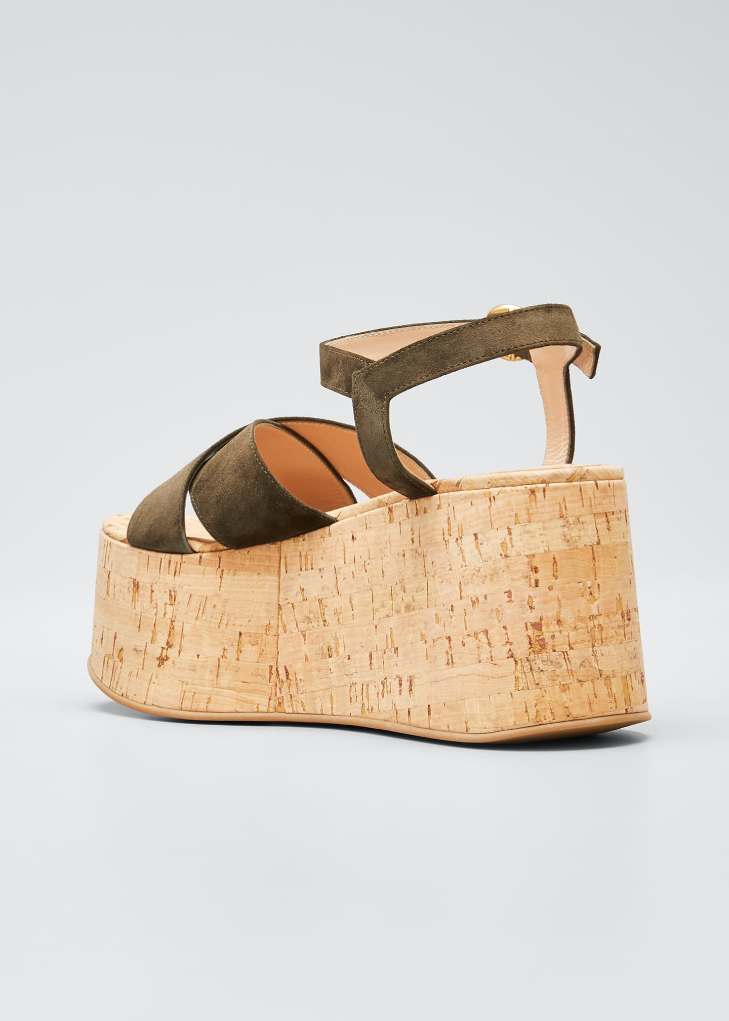 Image 4 of 5: 20mm Cork Flatform with Suede Sandals