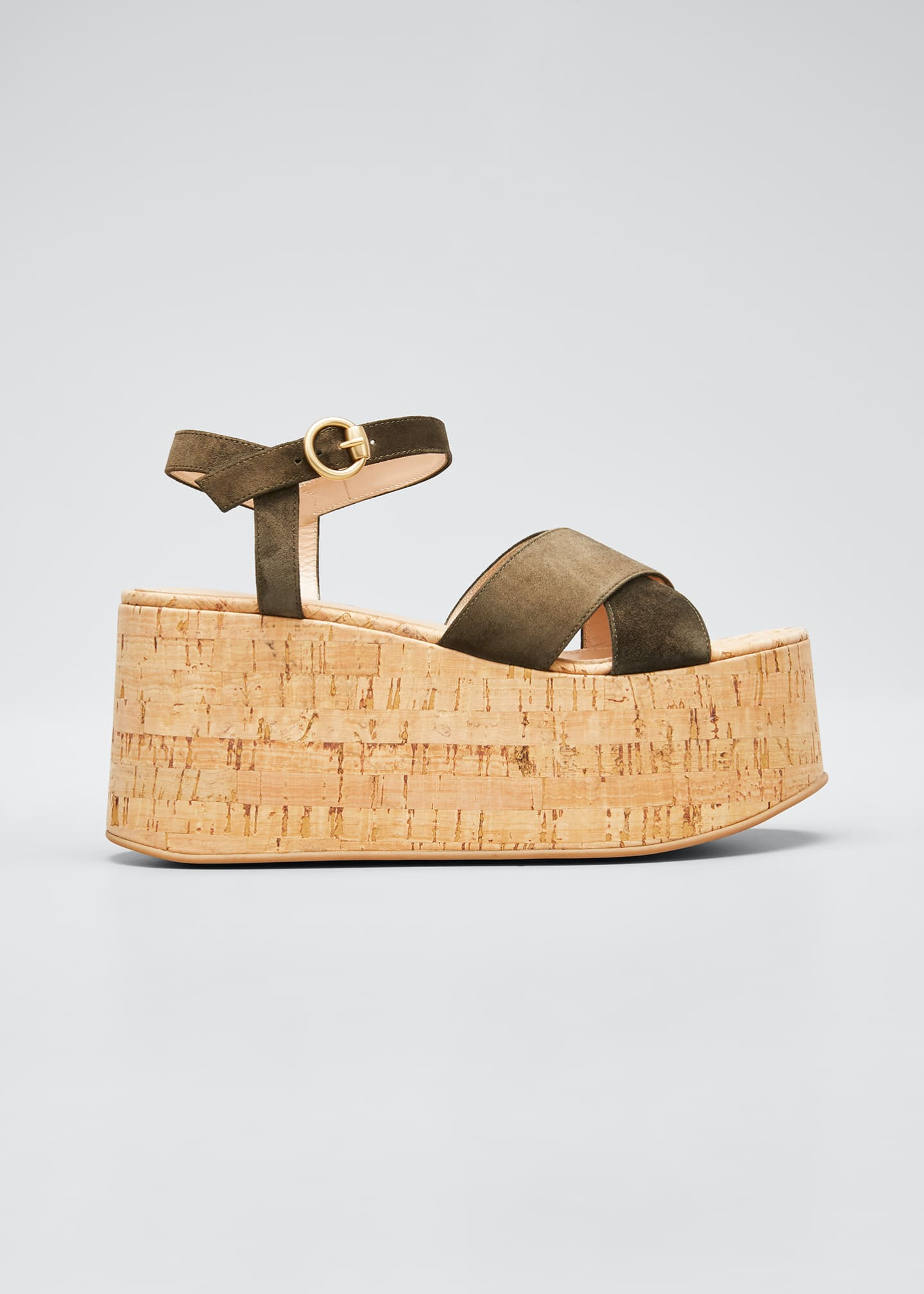 Image 1 of 5: 20mm Cork Flatform with Suede Sandals