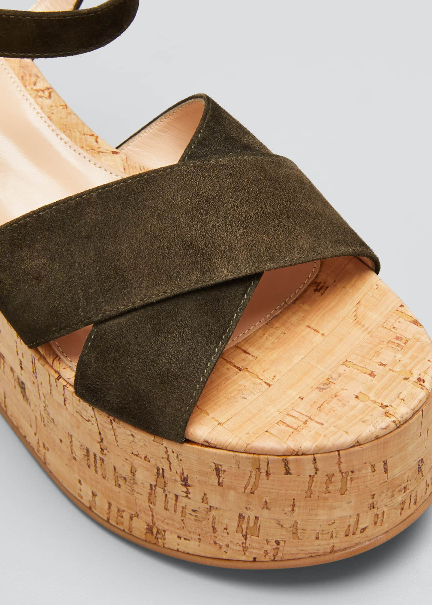 Image 5 of 5: 20mm Cork Flatform with Suede Sandals