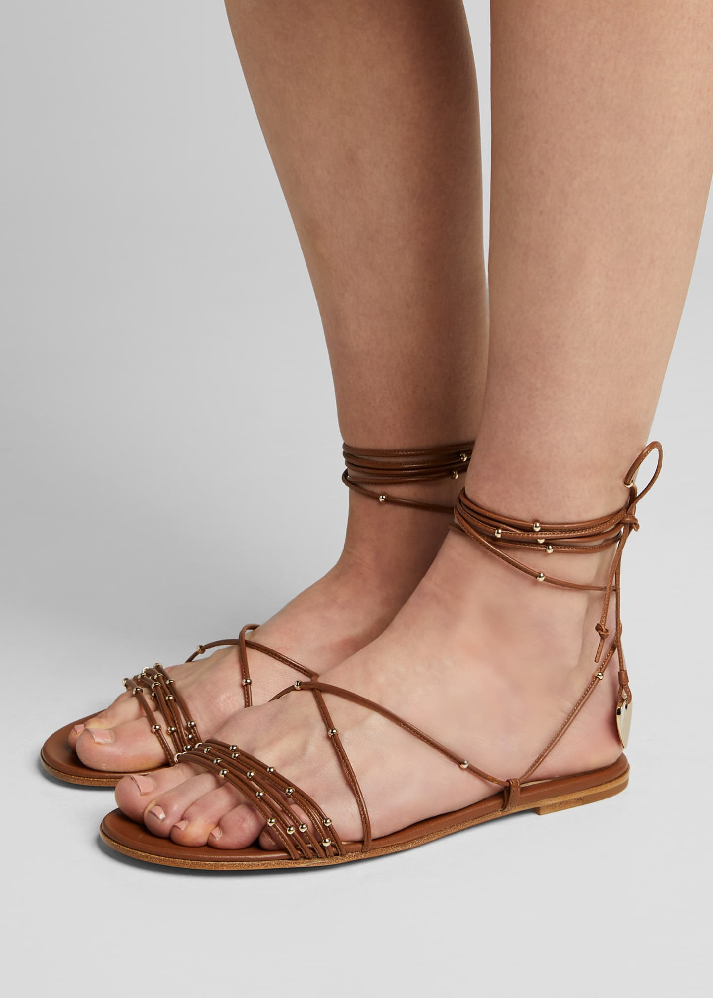 Image 2 of 5: Beaded Ankle-Wrap Flat Sandals