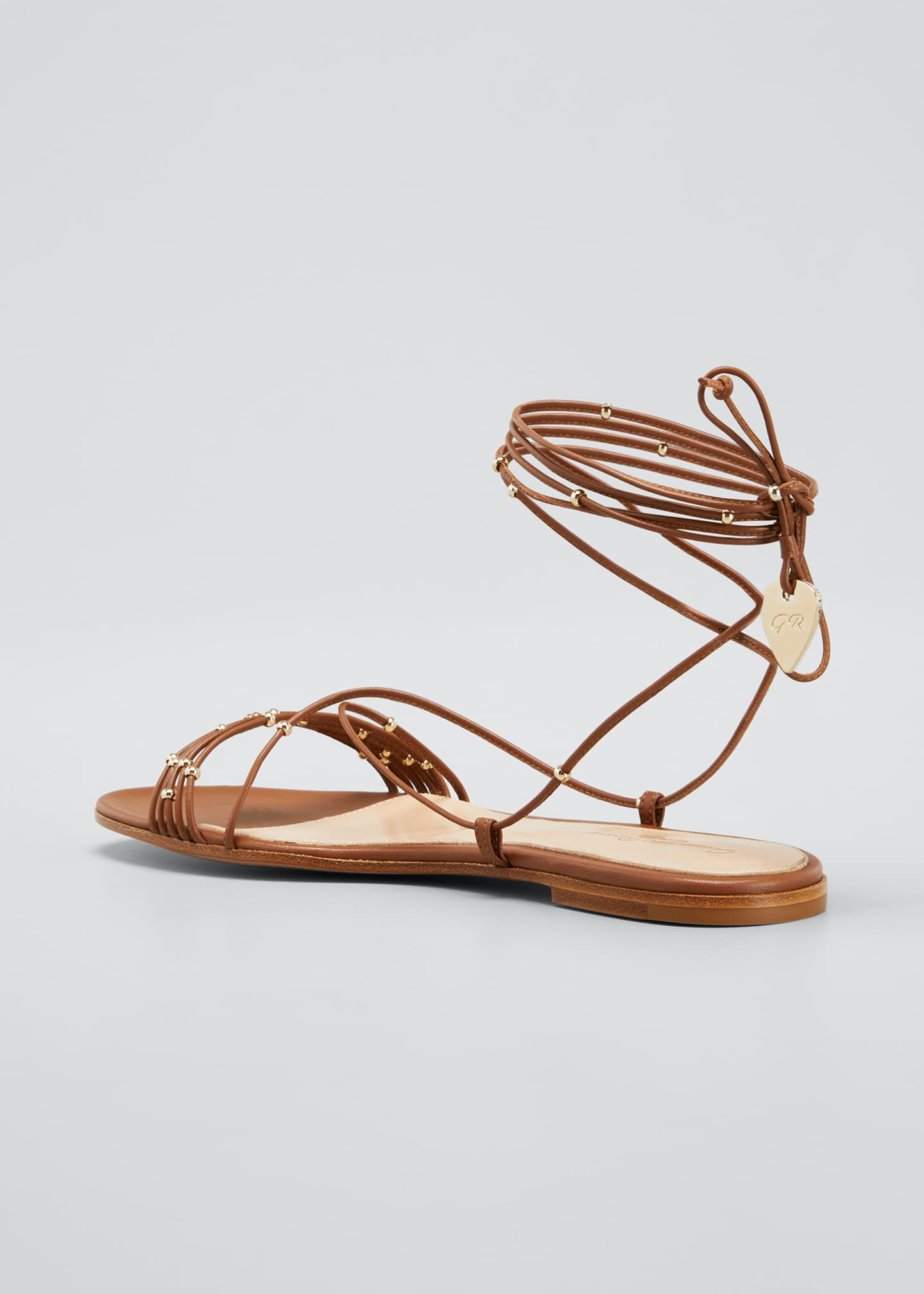 Image 4 of 5: Beaded Ankle-Wrap Flat Sandals