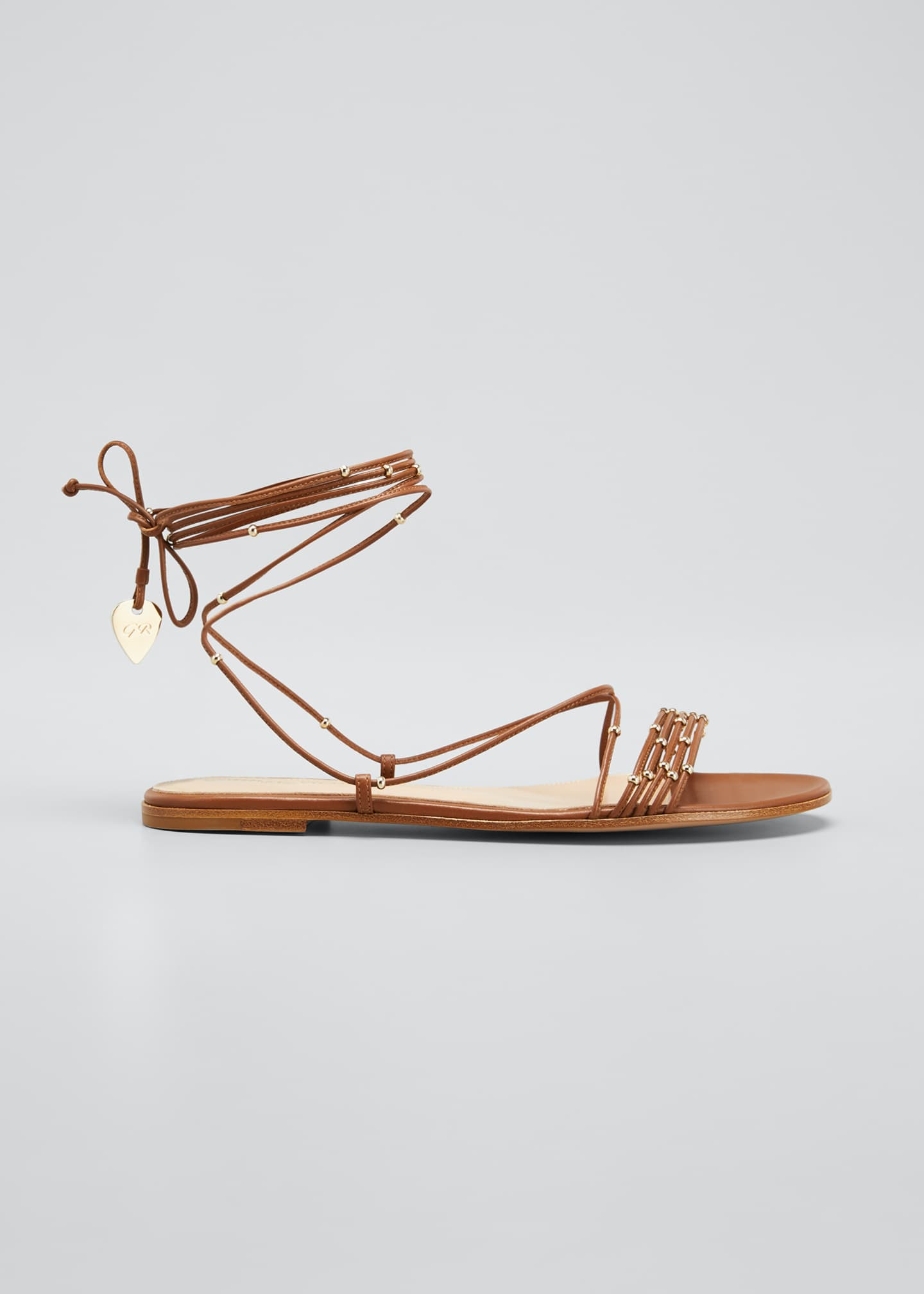 Image 1 of 5: Beaded Ankle-Wrap Flat Sandals