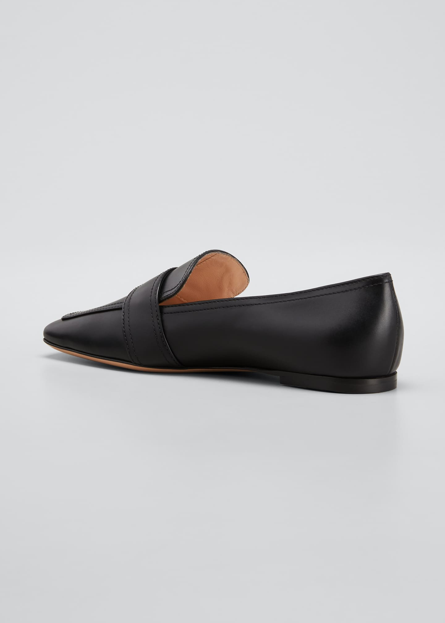 Image 4 of 5: 5mm Flat Square-Toe Leather Loafers