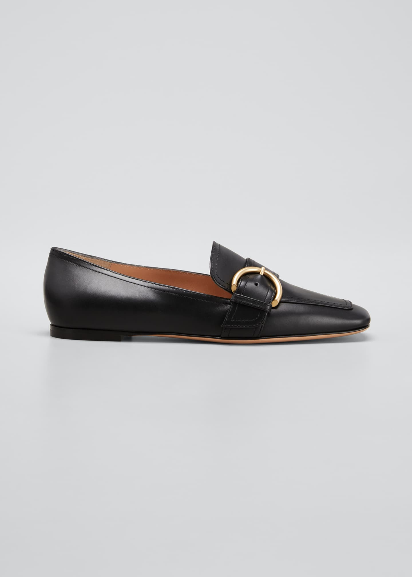 Image 1 of 5: 5mm Flat Square-Toe Leather Loafers