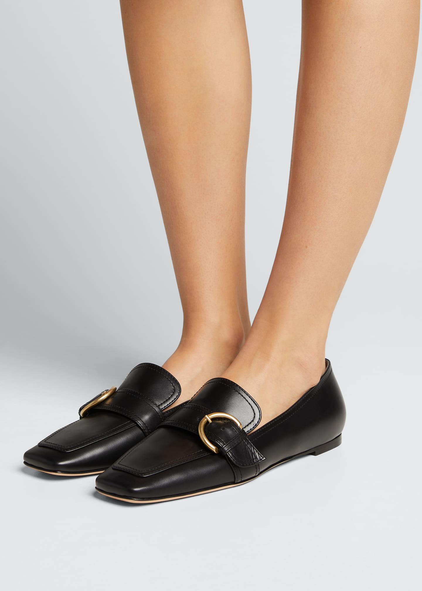 Image 2 of 5: 5mm Flat Square-Toe Leather Loafers