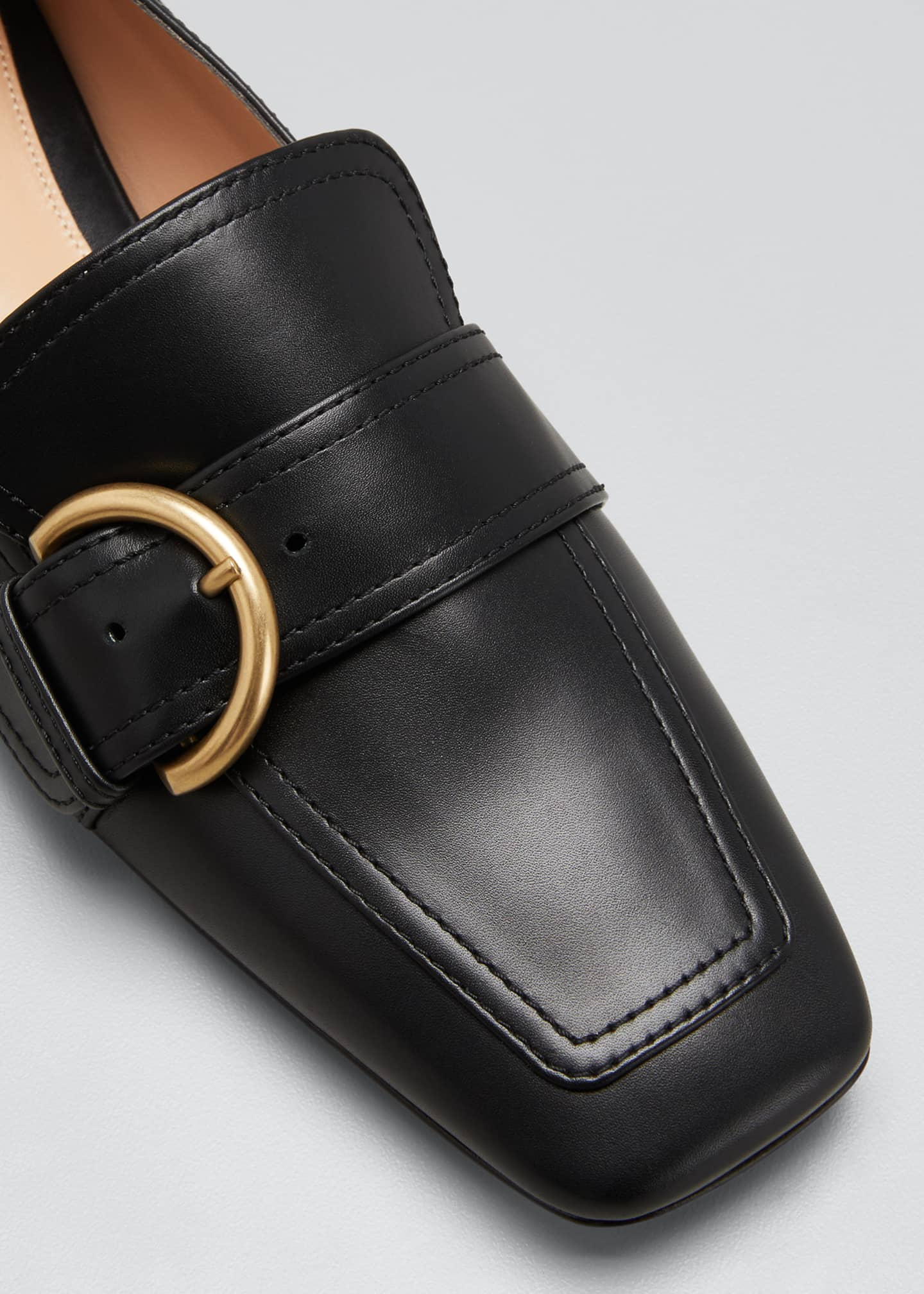 Image 5 of 5: 5mm Flat Square-Toe Leather Loafers