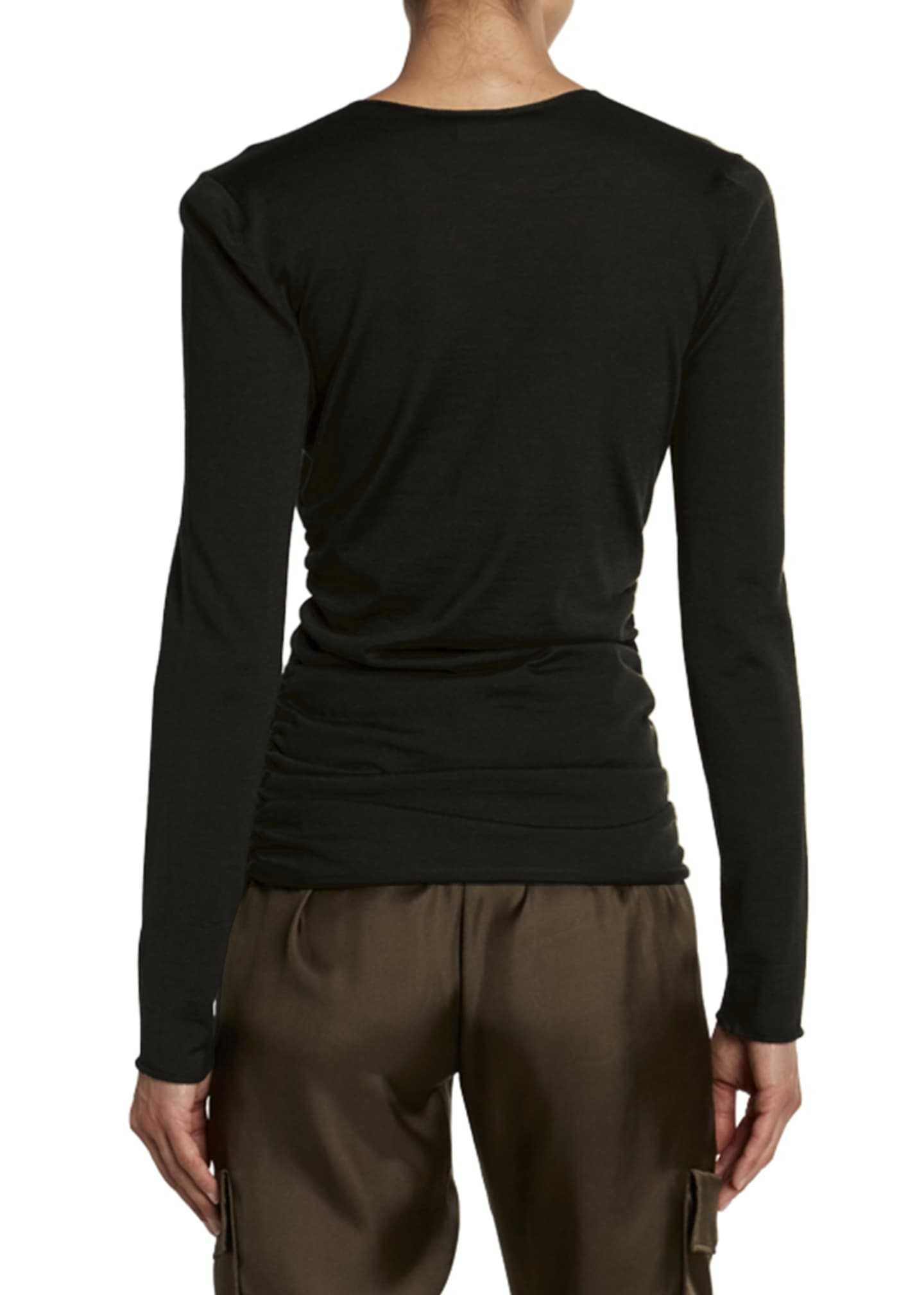 Image 2 of 2: Fine Cashmere-Silk Wrapped Keyhole Top
