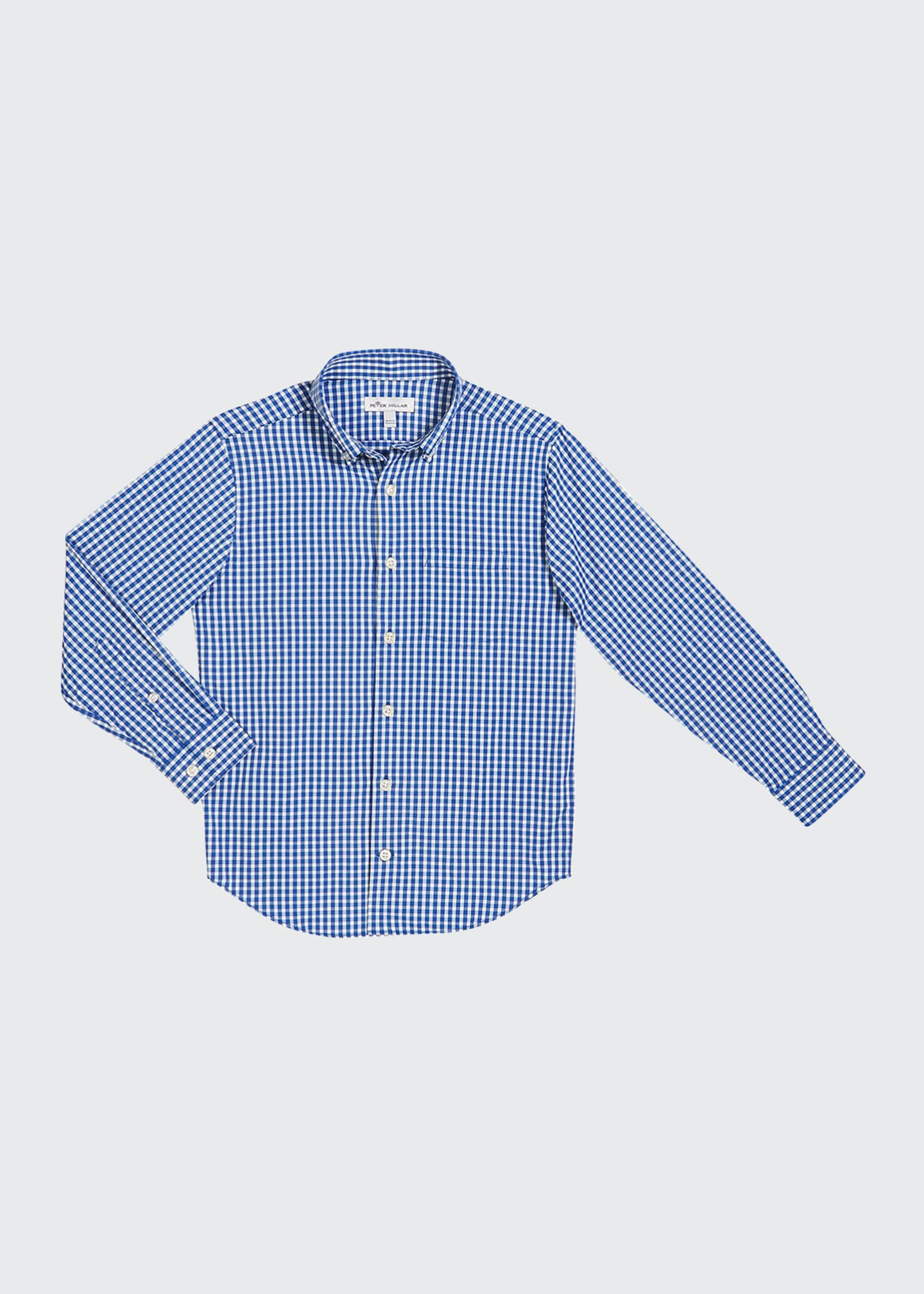 Peter Millar Boy's Gingham Performance Shirt, Size XXS-XL