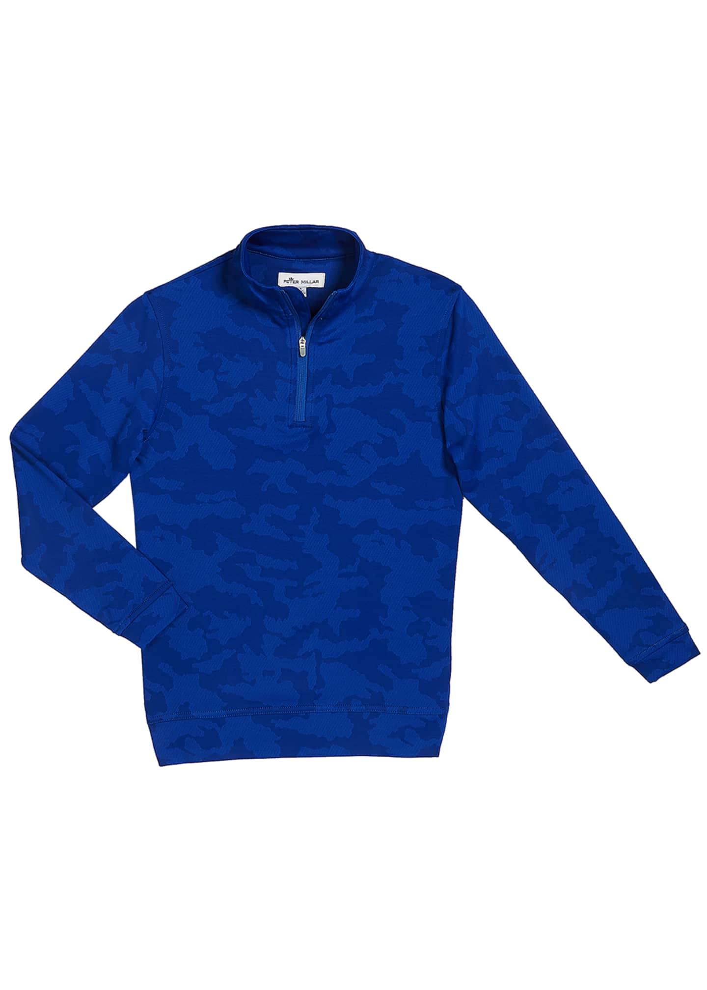 Peter Millar Boy's Perth Camo 1/4-Zip Pullover, Size
