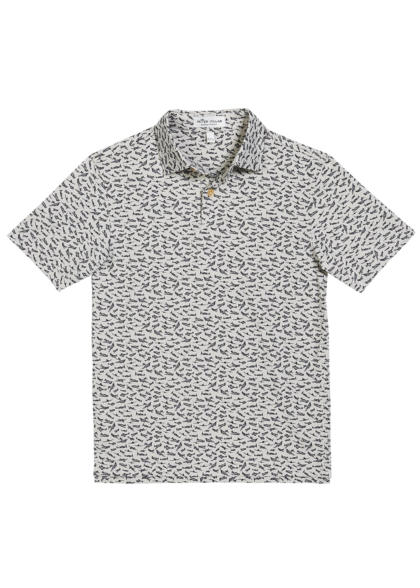 Peter Millar Boy's Bird Airplanes Print Polo Shirt,