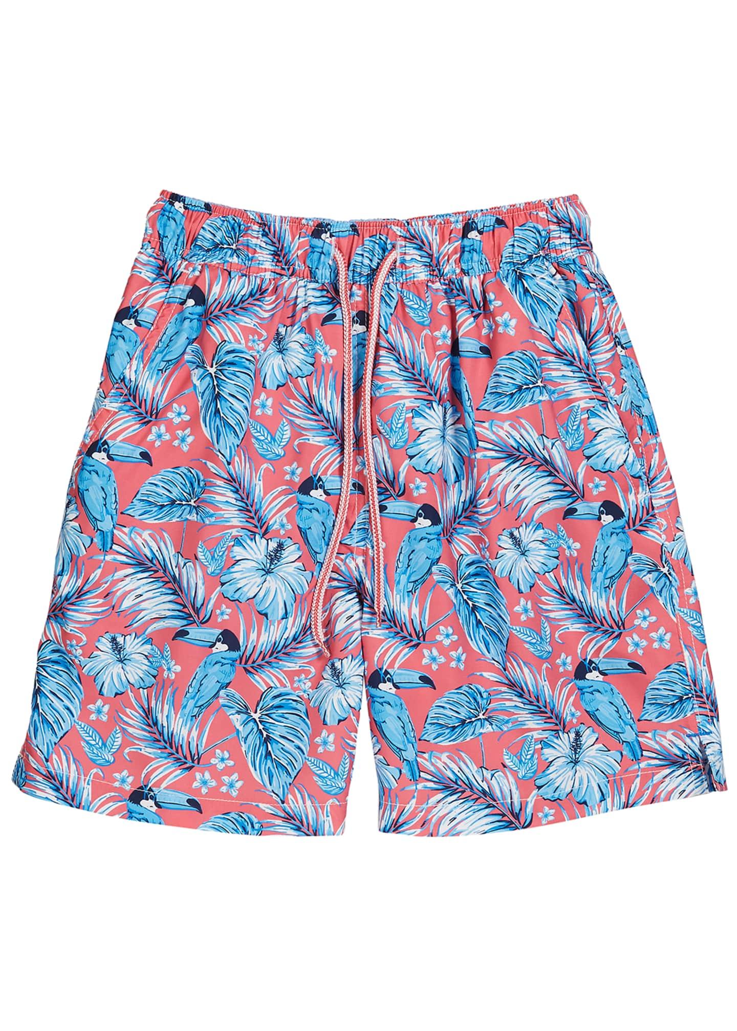 Peter Millar Boy's Tucanopy Tropical Print Swim Trunks,