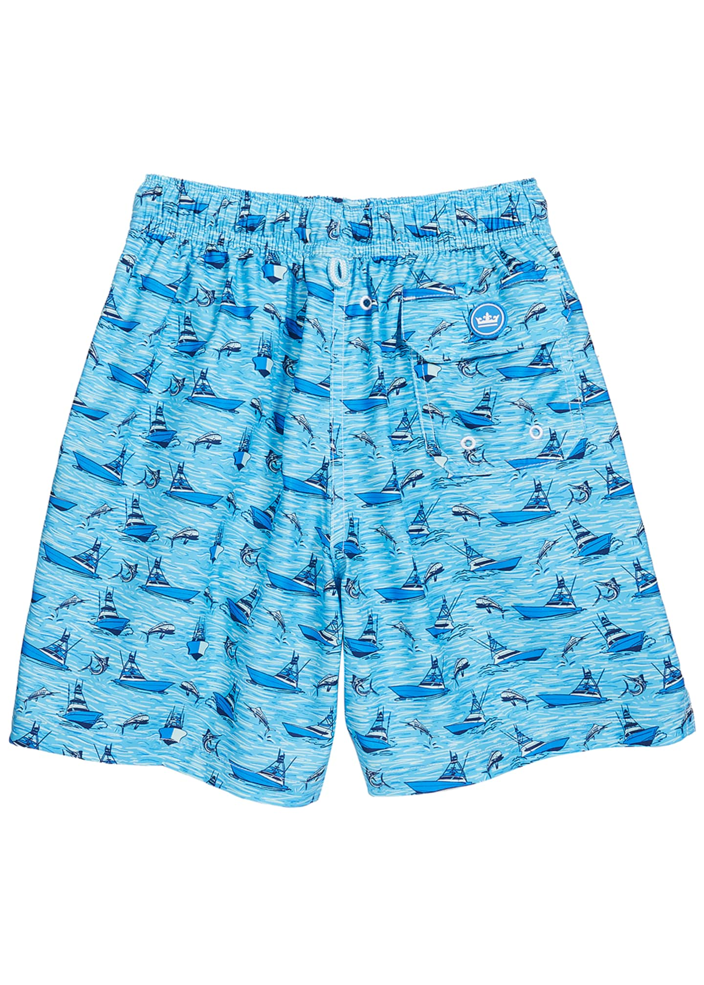 Image 2 of 2: Boy's Gulf Stream Sailboats & Swordfish Print Swim Trunks, Size XXS-XL
