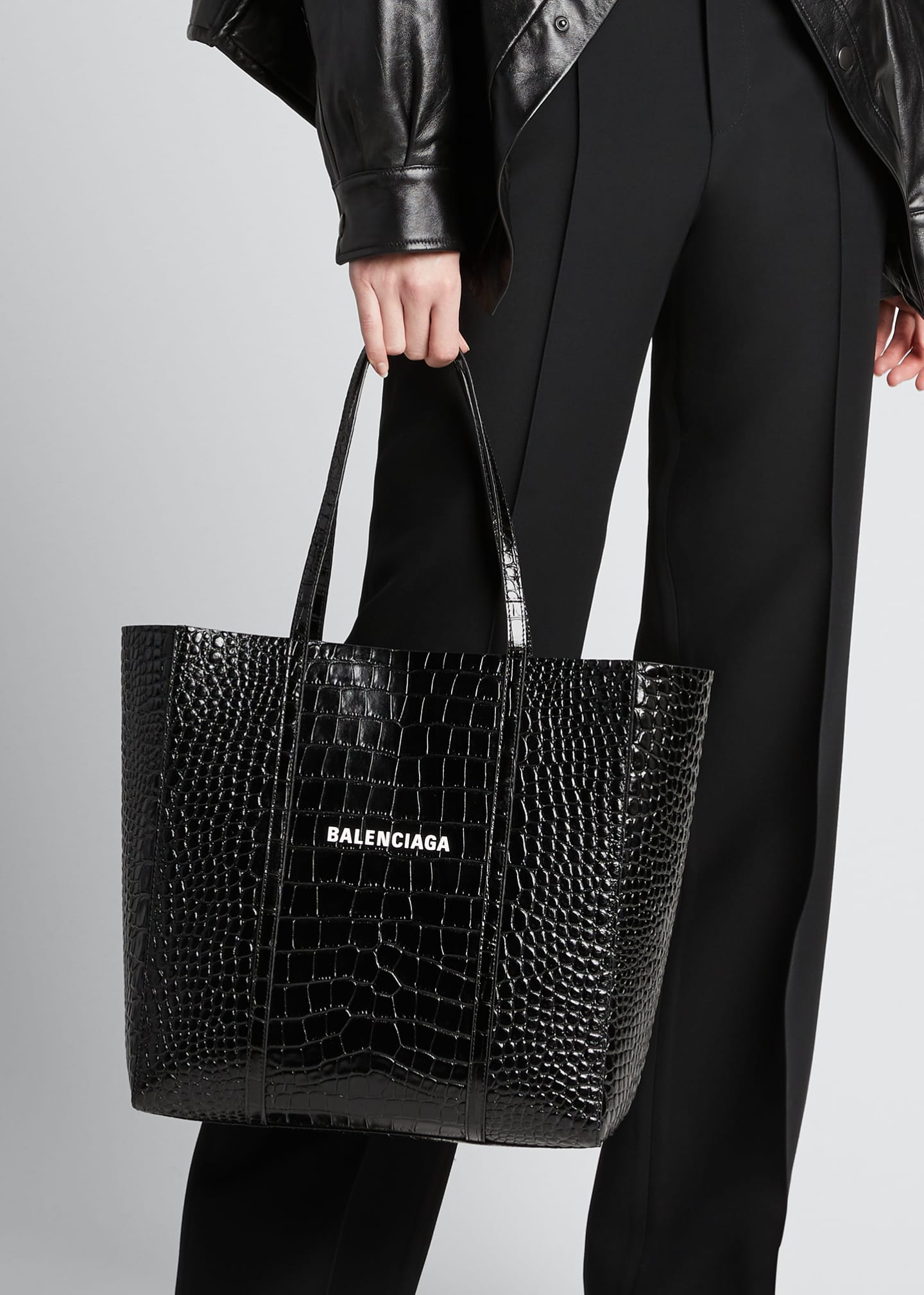 Image 2 of 5: Everyday Small Shiny Embossed Croc Tote Bag
