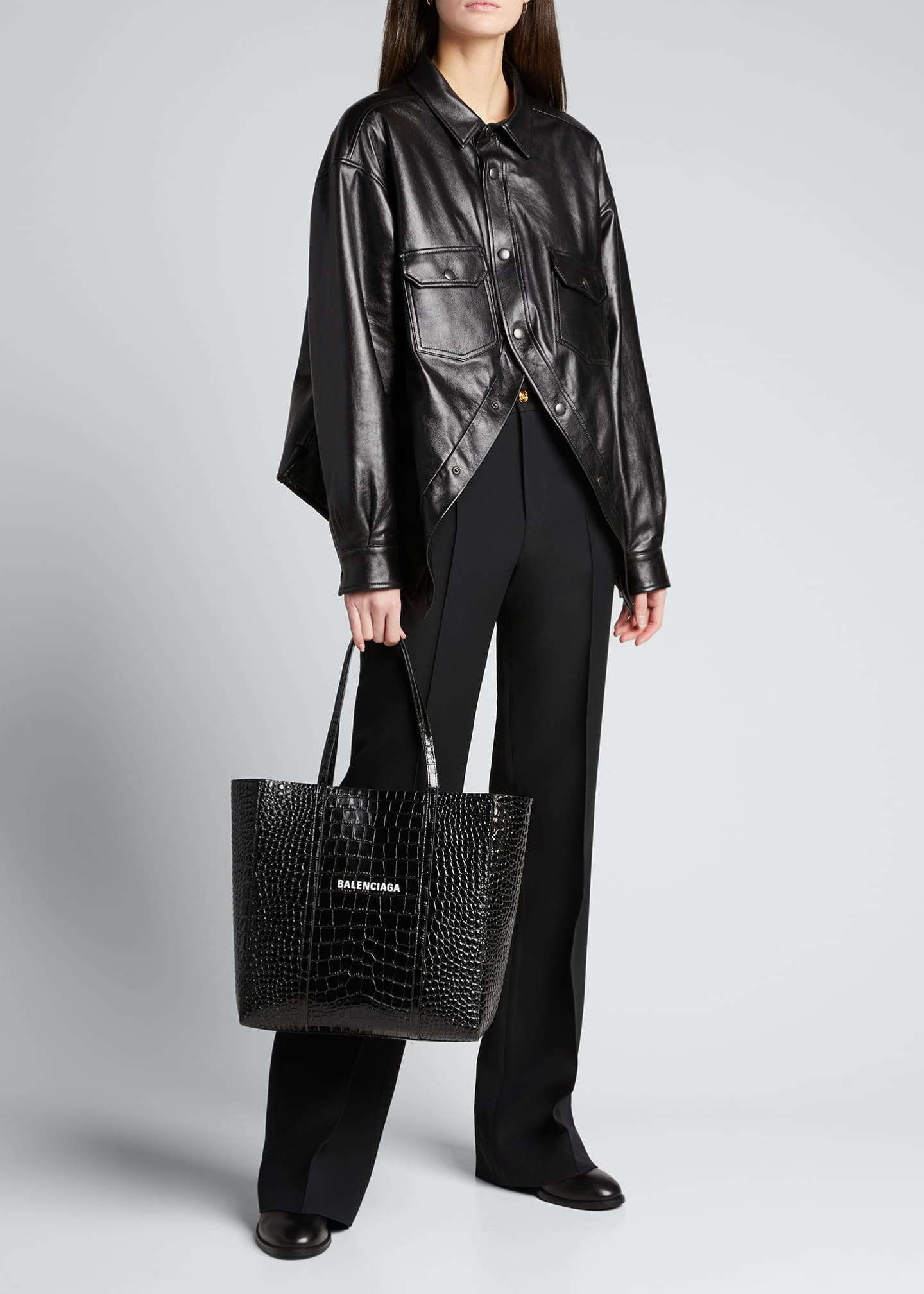 Image 5 of 5: Everyday Small Shiny Embossed Croc Tote Bag