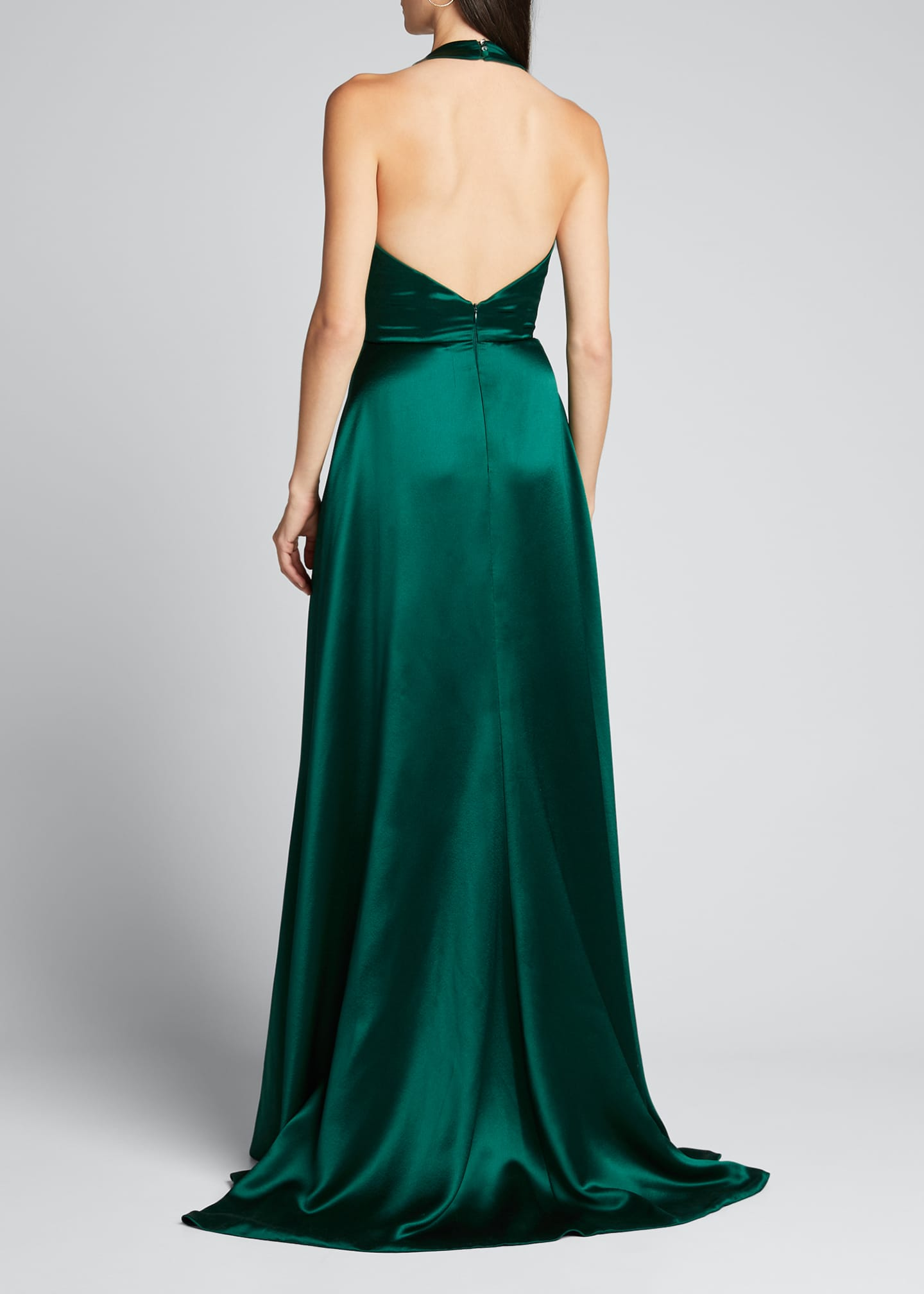 Image 2 of 4: Plunge Front Heavy Charmeuse Satin Halter Gown