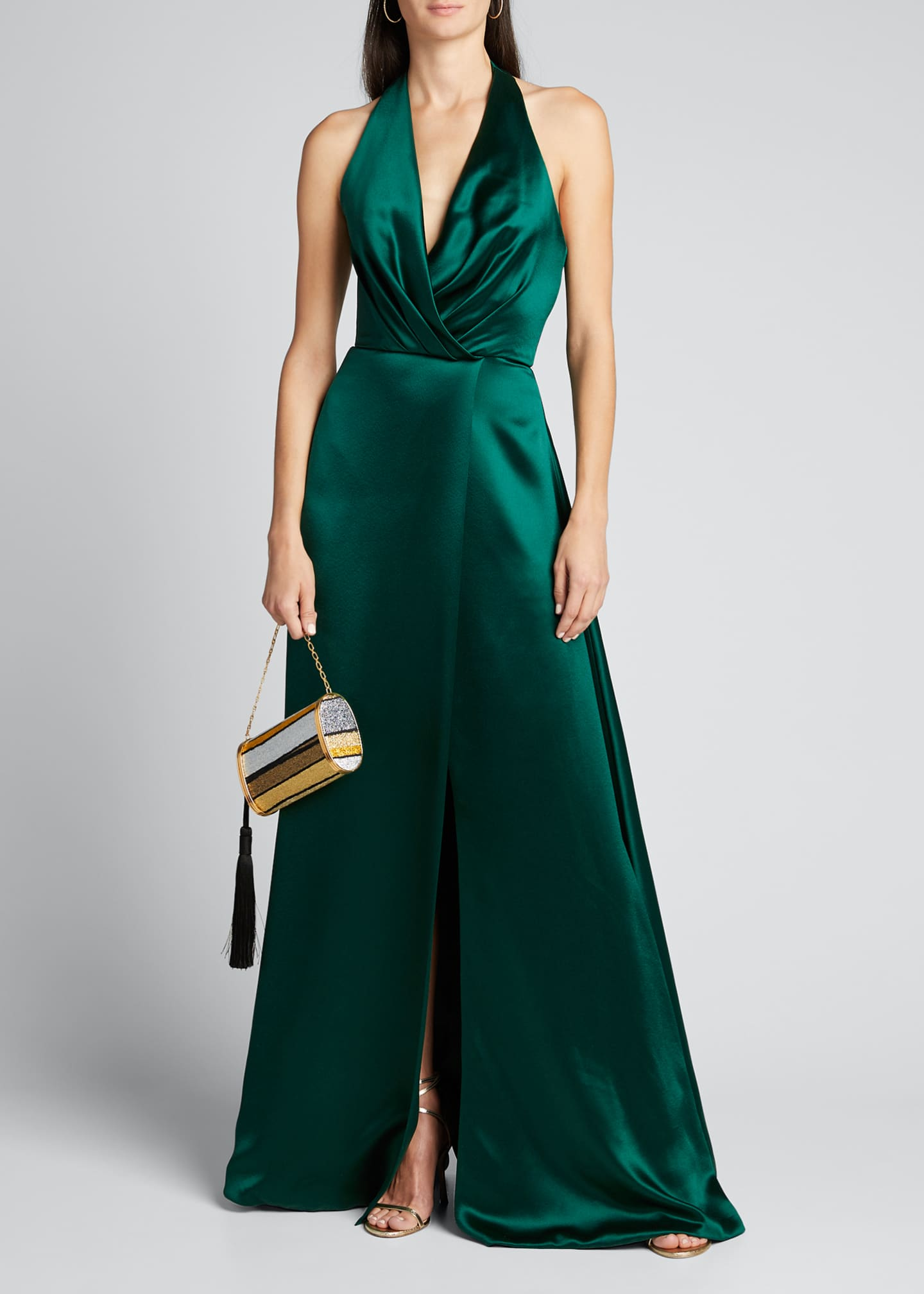 Image 1 of 4: Plunge Front Heavy Charmeuse Satin Halter Gown