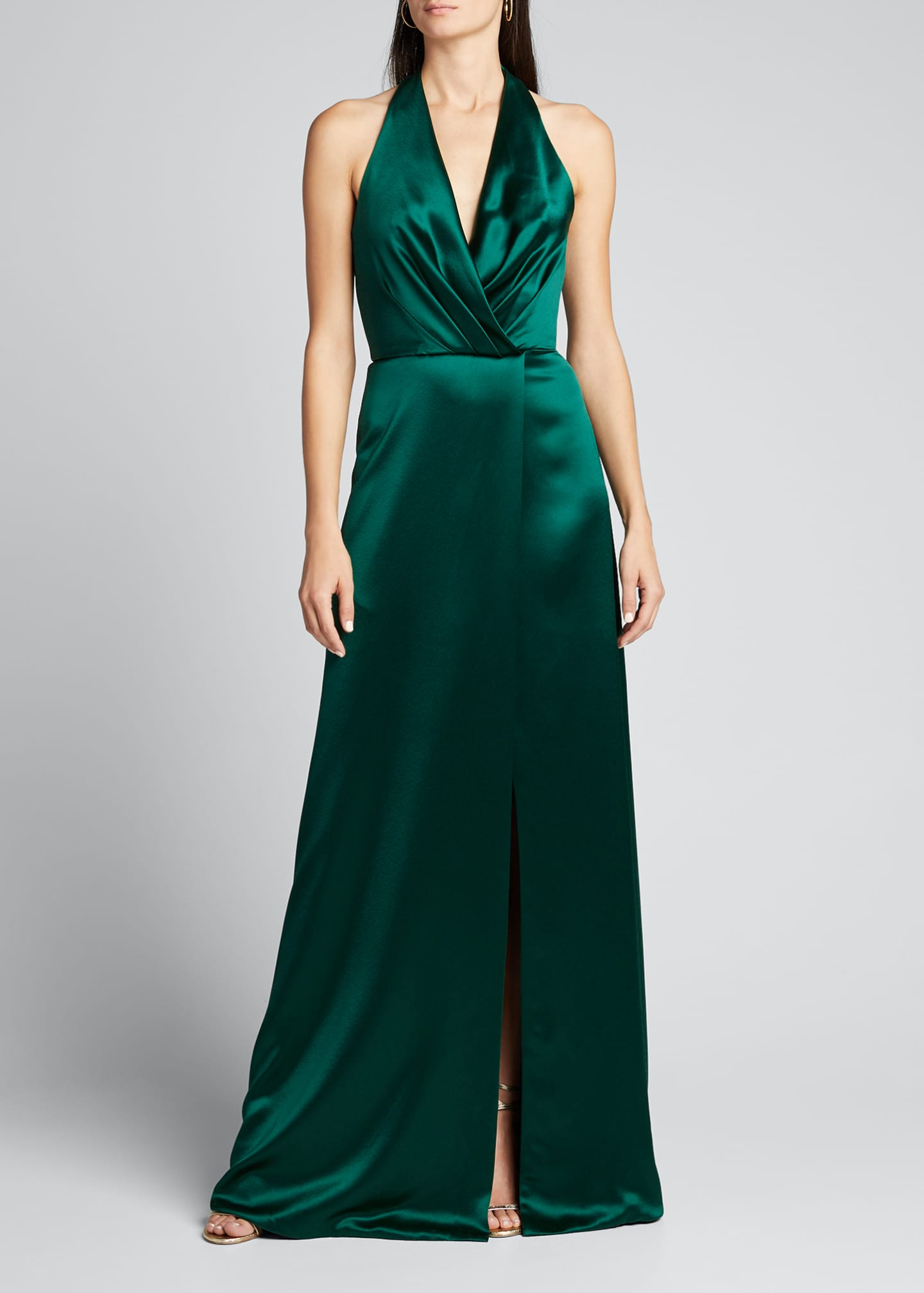 Image 3 of 4: Plunge Front Heavy Charmeuse Satin Halter Gown