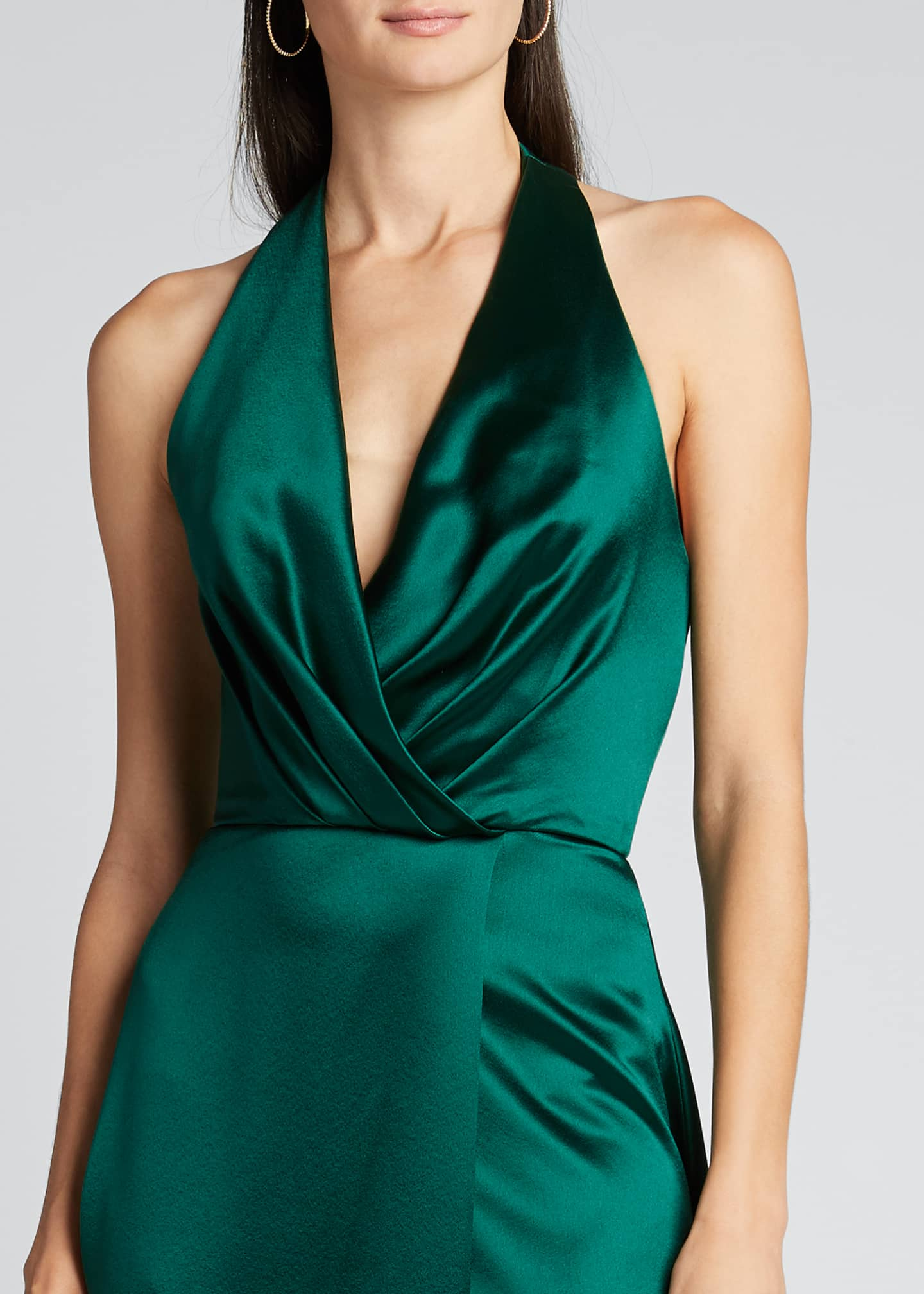 Image 4 of 4: Plunge Front Heavy Charmeuse Satin Halter Gown