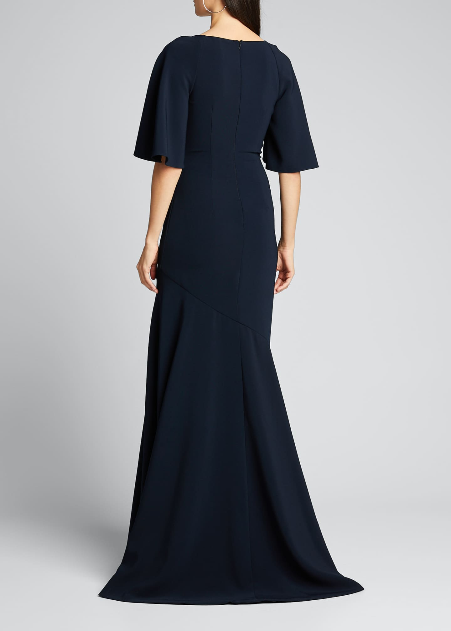Image 2 of 5: Elbow-Sleeve Wrap-Front Stretch Crepe Gown