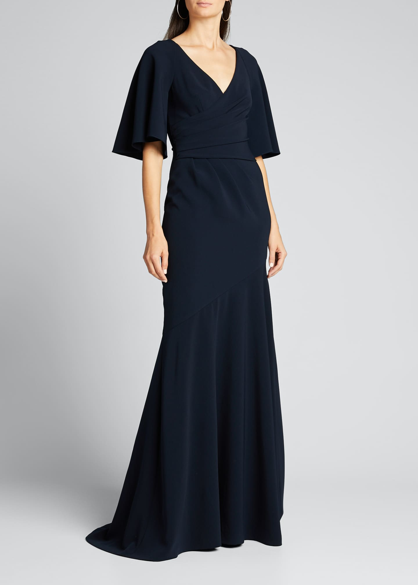 Image 3 of 5: Elbow-Sleeve Wrap-Front Stretch Crepe Gown