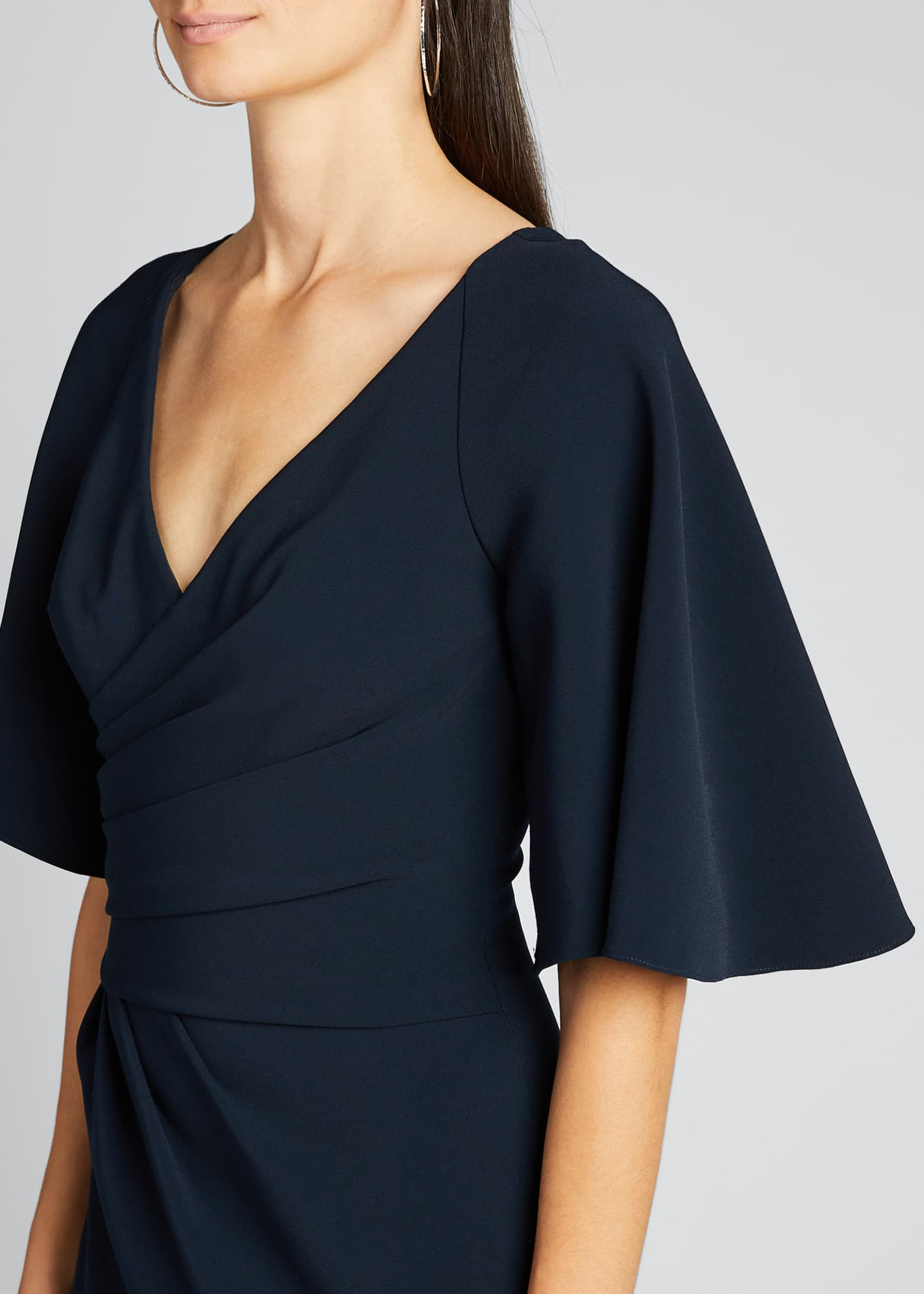 Image 4 of 5: Elbow-Sleeve Wrap-Front Stretch Crepe Gown