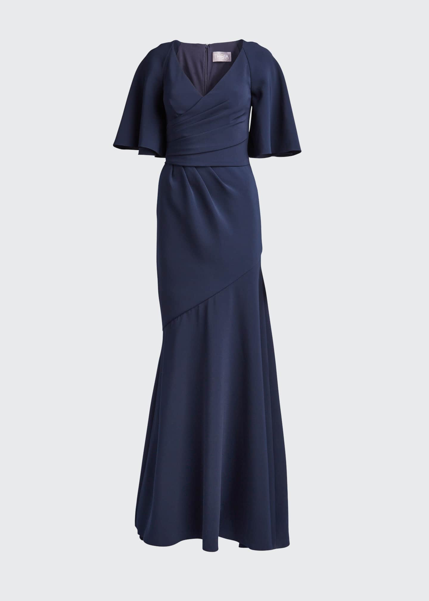 Image 5 of 5: Elbow-Sleeve Wrap-Front Stretch Crepe Gown