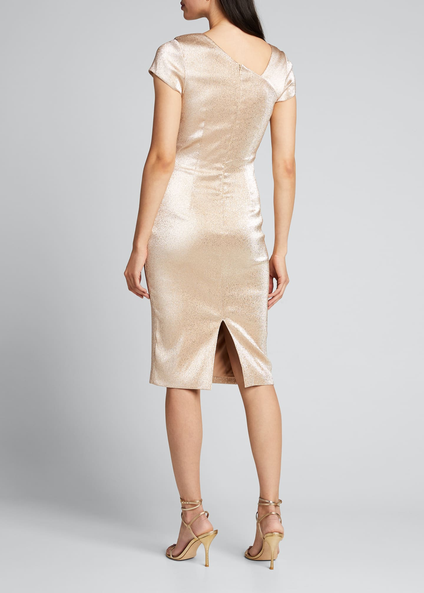 Image 2 of 5: Stretch Metallic Cap-Sleeve Asymmetrical Draped Sheath Dress
