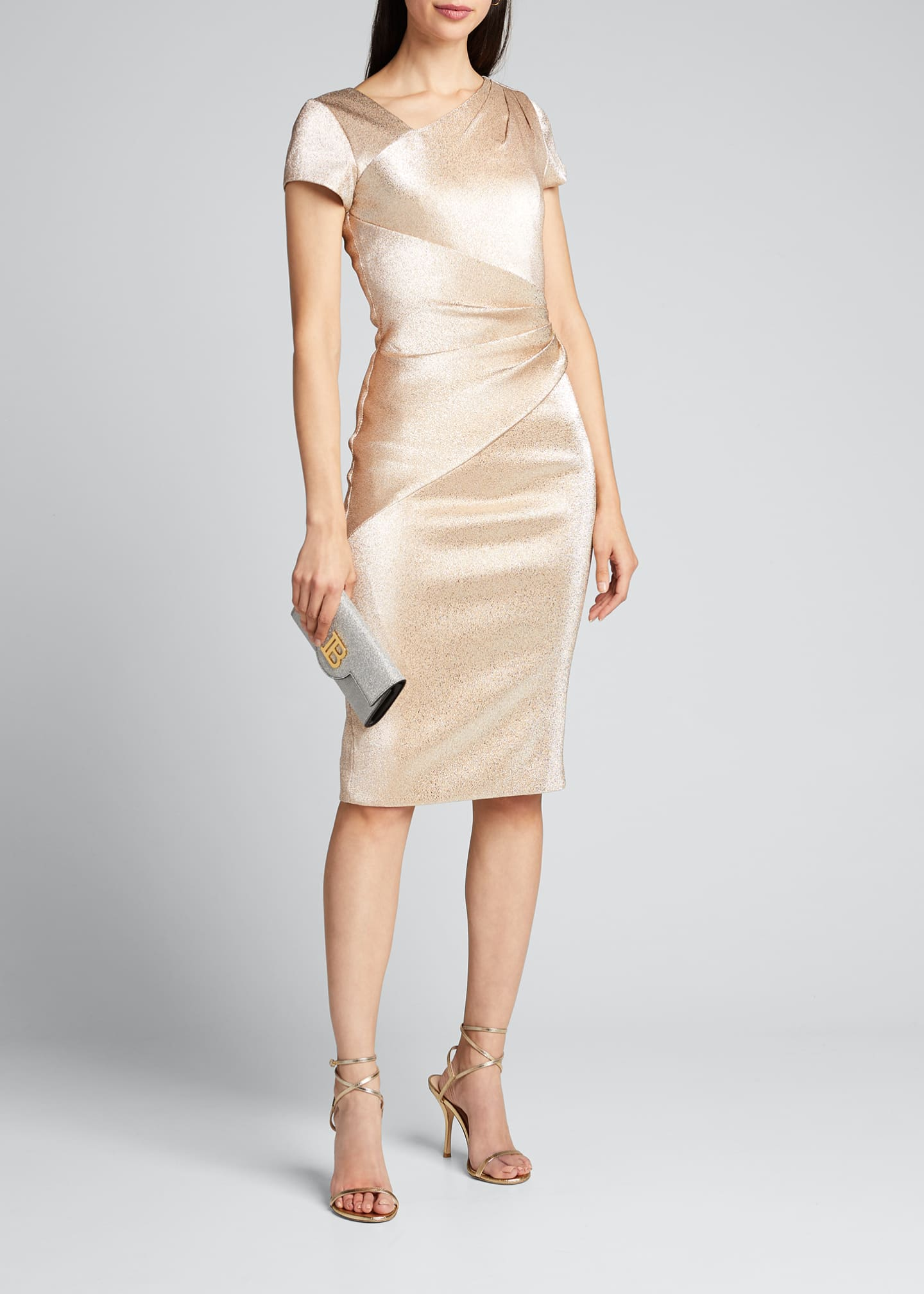 Image 1 of 5: Stretch Metallic Cap-Sleeve Asymmetrical Draped Sheath Dress