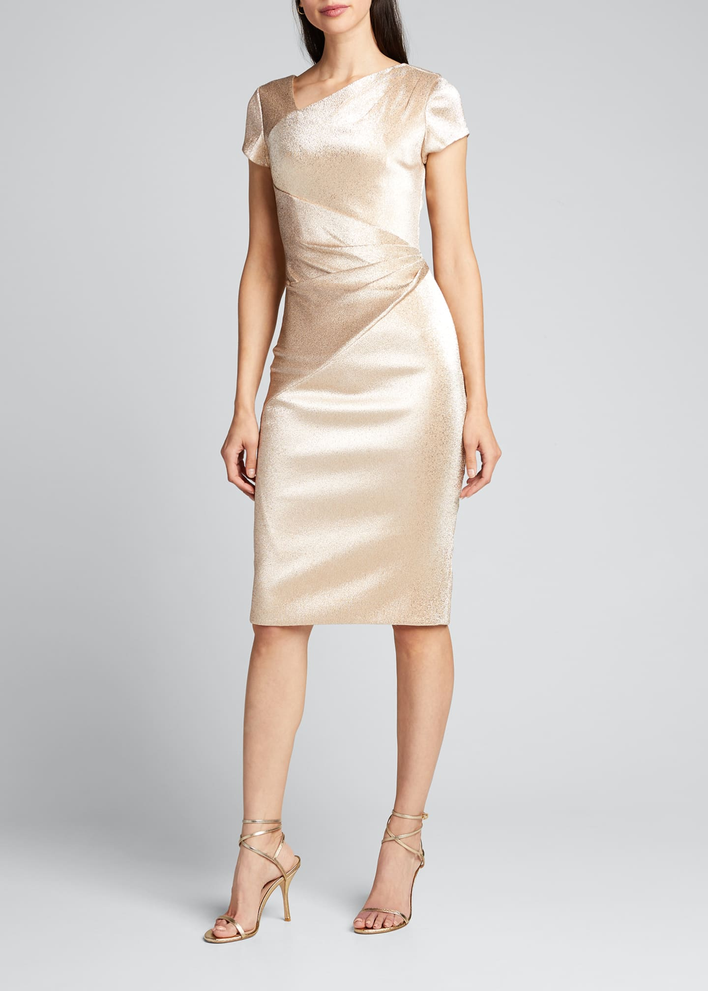 Image 3 of 5: Stretch Metallic Cap-Sleeve Asymmetrical Draped Sheath Dress