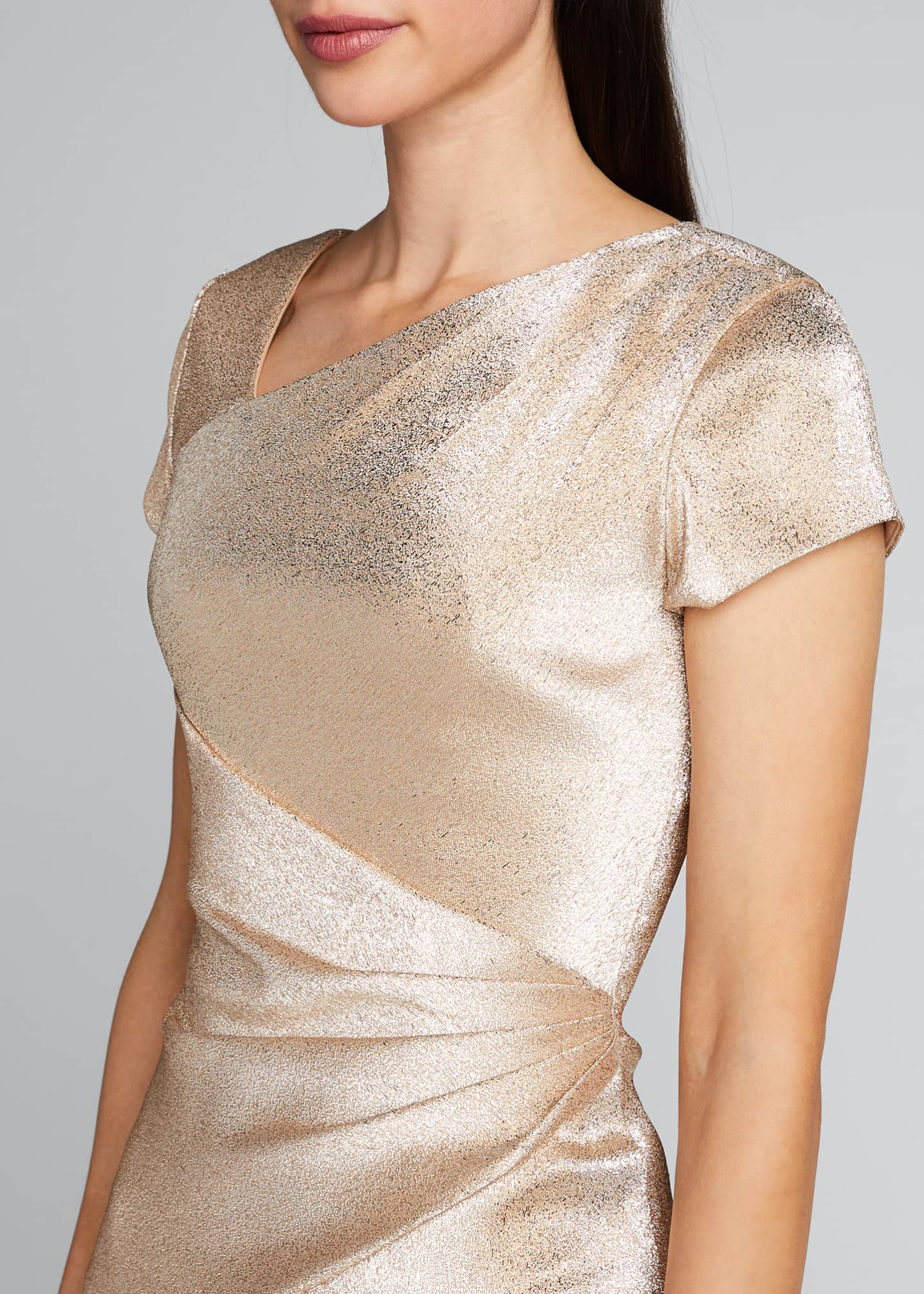 Image 4 of 5: Stretch Metallic Cap-Sleeve Asymmetrical Draped Sheath Dress