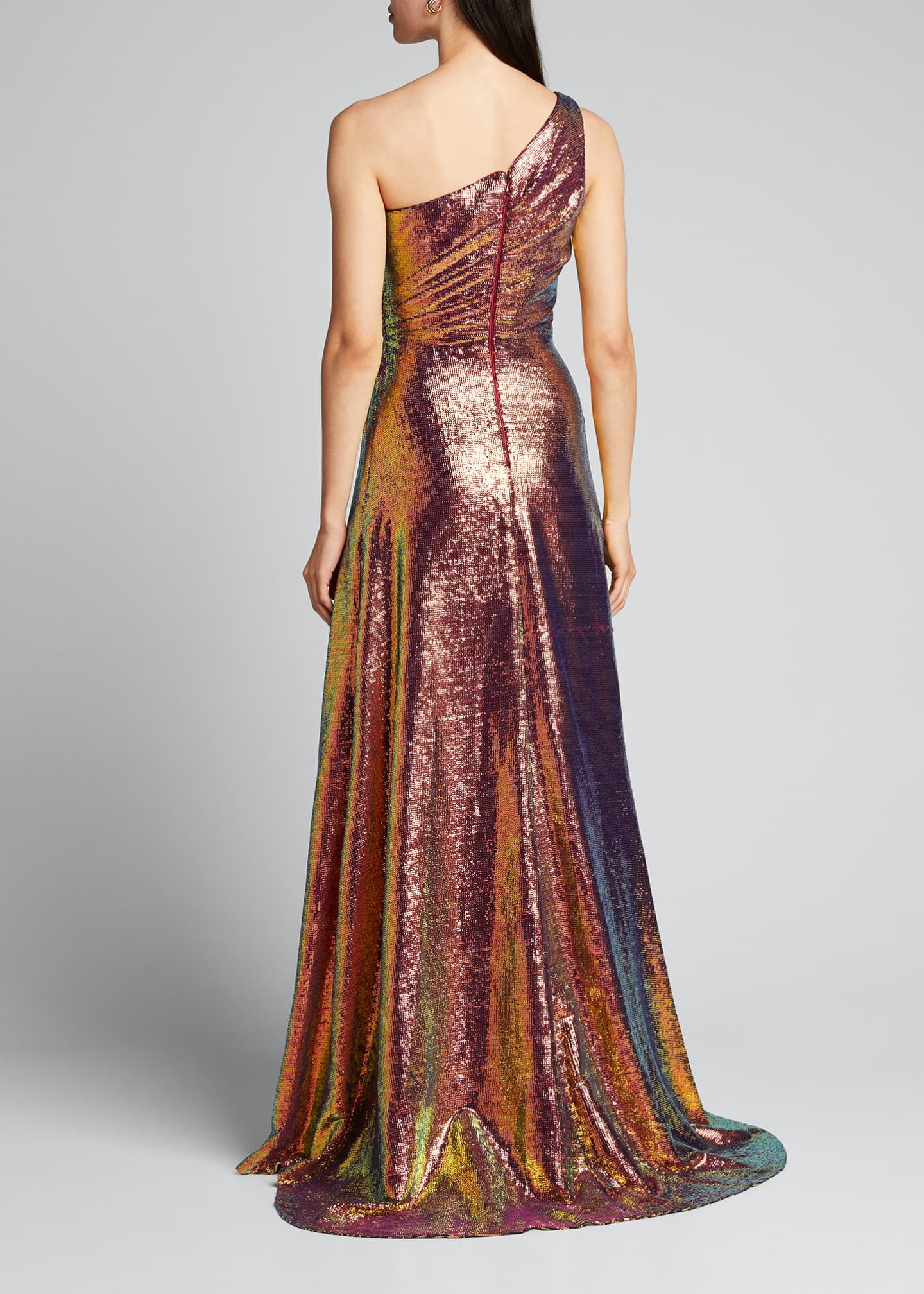 Image 2 of 5: Iridescent Micro Sequin Asymmetrical Gown