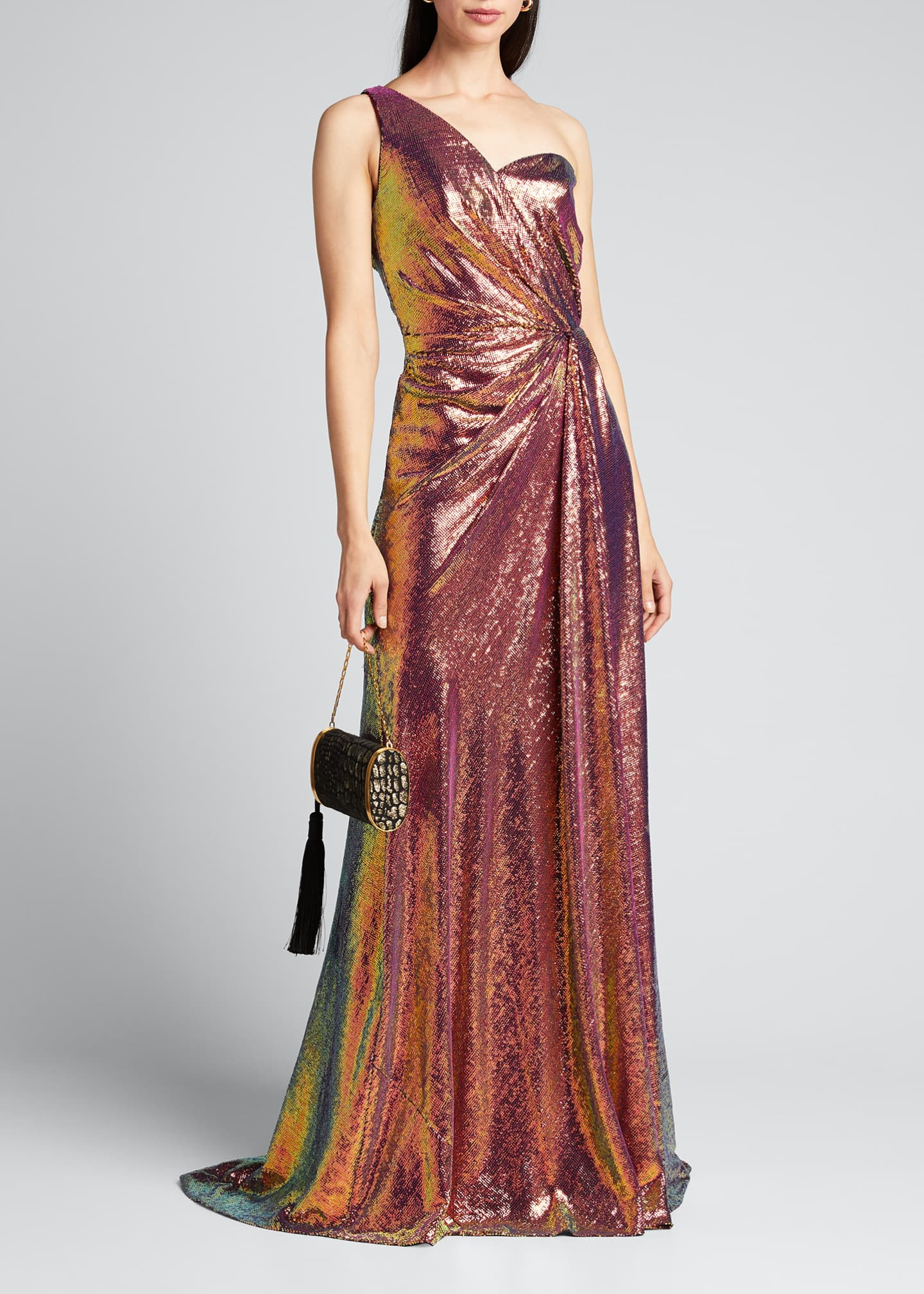 Image 1 of 5: Iridescent Micro Sequin Asymmetrical Gown
