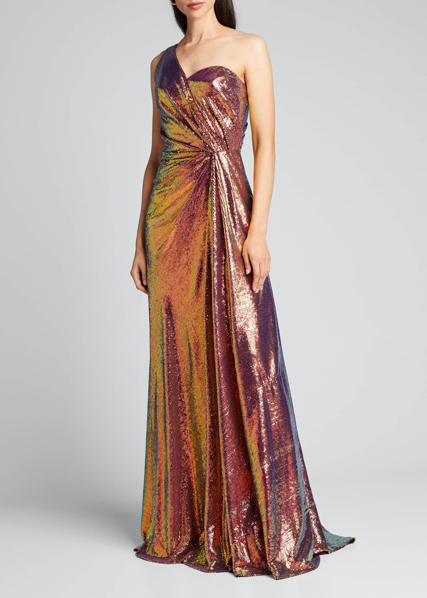 Image 3 of 5: Iridescent Micro Sequin Asymmetrical Gown
